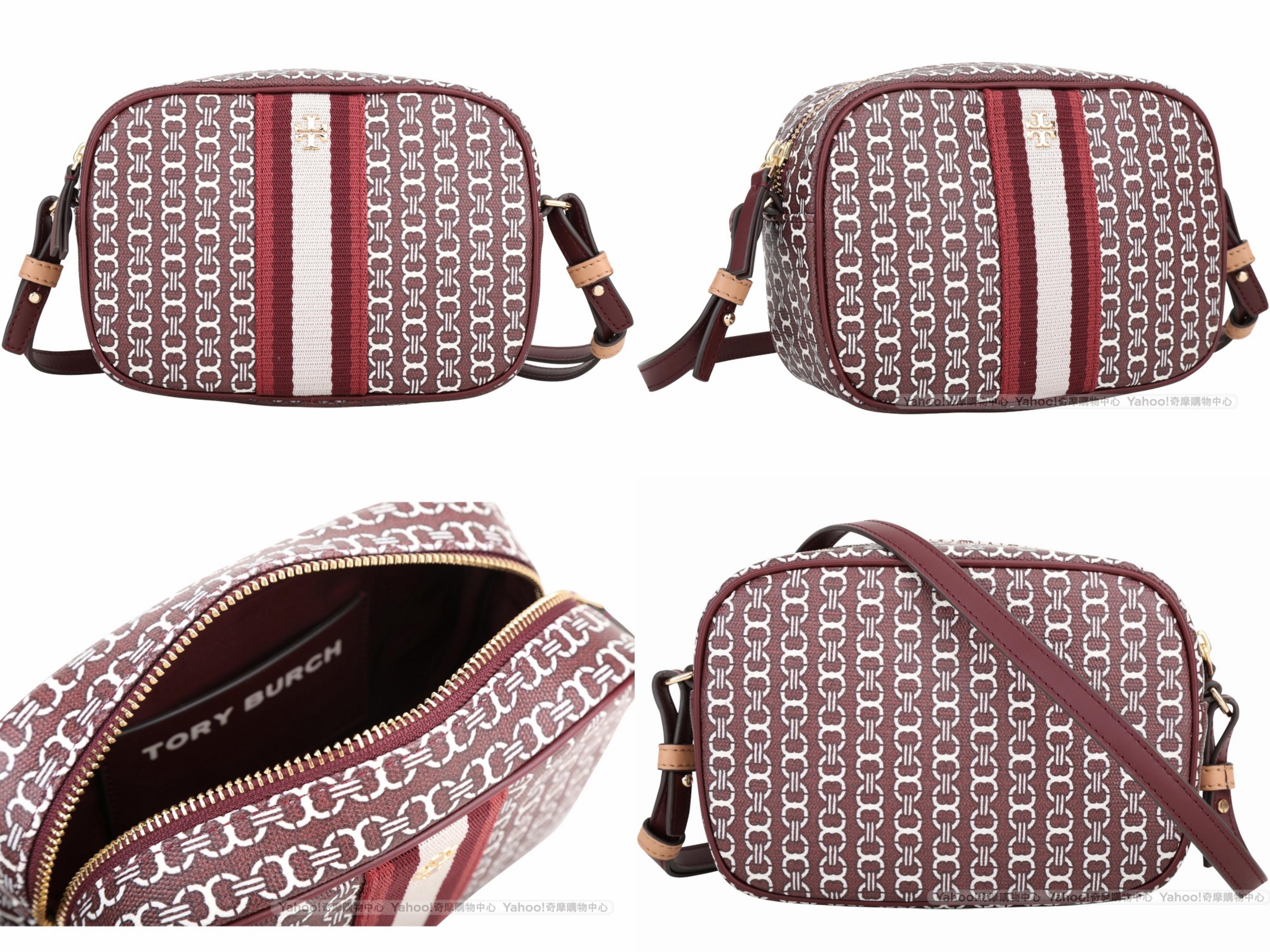 TORY BURCH GEMINI LINK 塗層帆布斜背相機包(勃根地紅) 低調優雅的勃根地紅,有著吸引人的魅力