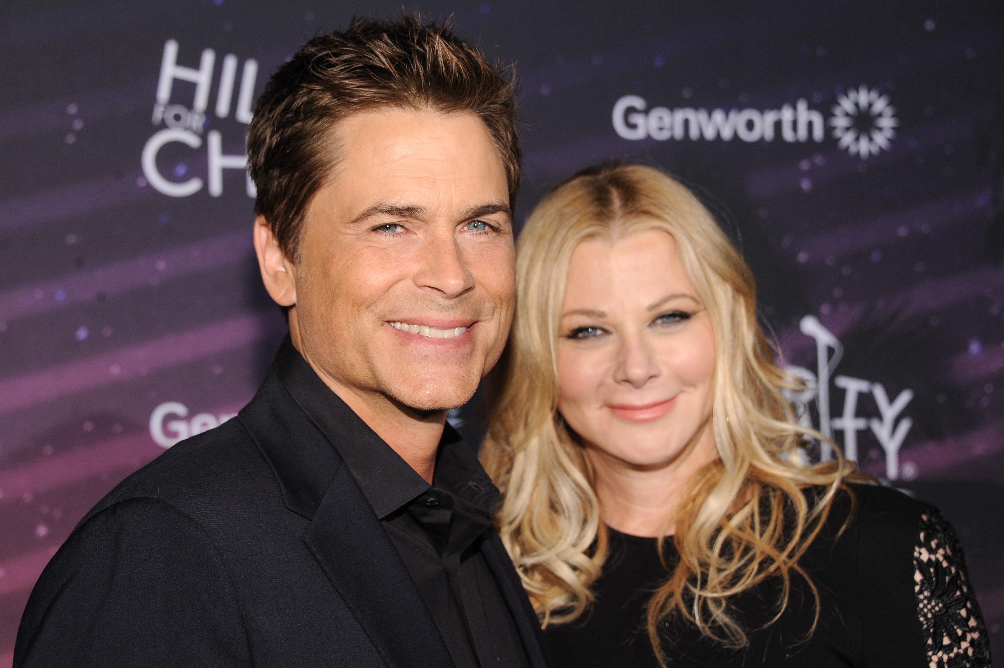 Rob Lowe, left, and Sheryl Berkoff arrive at the Hilarity For Charity 3rd Annual Los Angeles Variety Show on Friday, Oct. 17, 2014, in Los Angeles. (Photo by Richard Shotwell/Invision/AP)