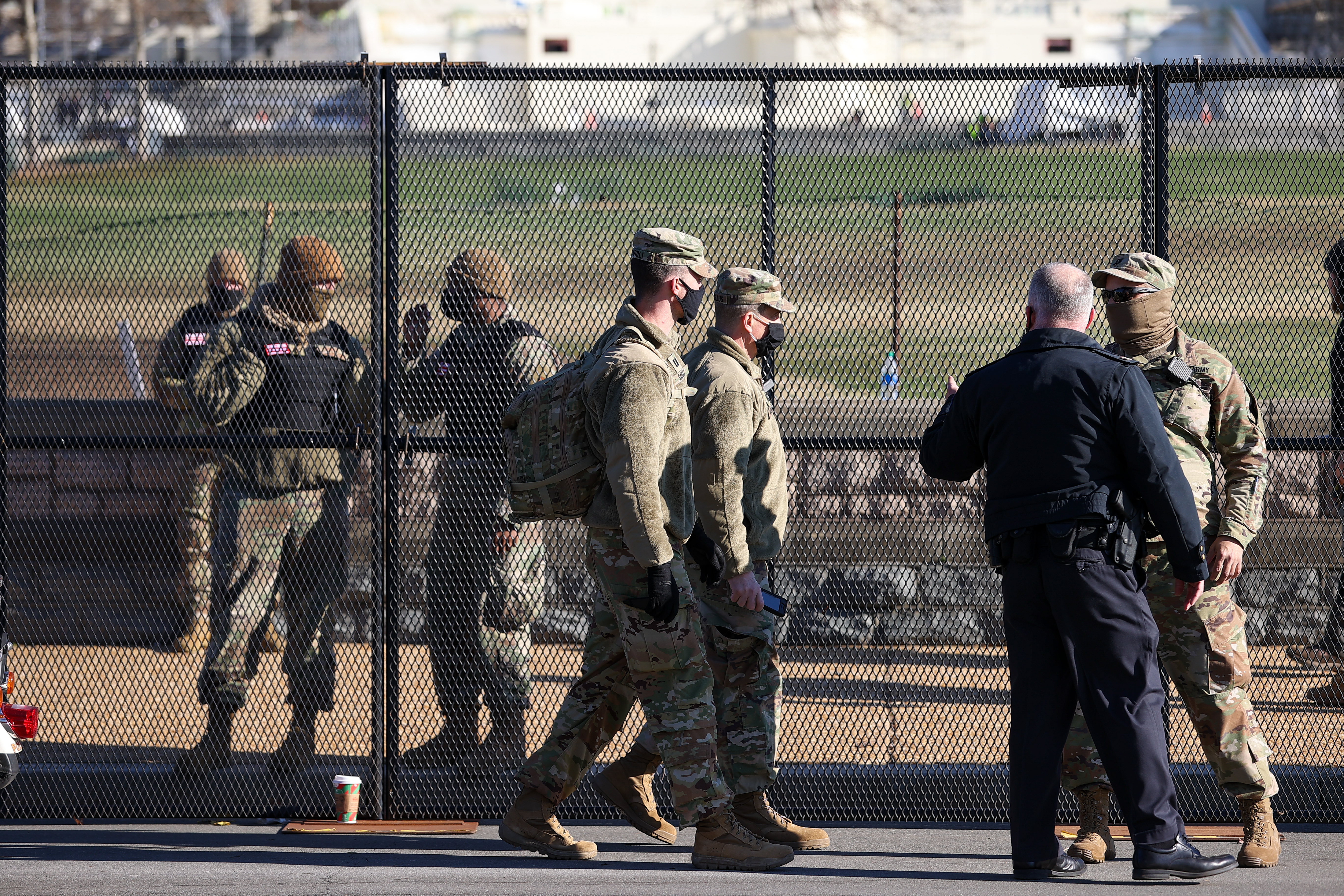 WASHINGTON D.C., USA - JANUARY 07: National Guards are seen as The U.S Capitol building's surround was fenced after massive protest following Trump supporters entered the building in Washington D.C., United States on January 07, 2020. (Photo by Tayfun Coskun/Anadolu Agency via Getty Images)