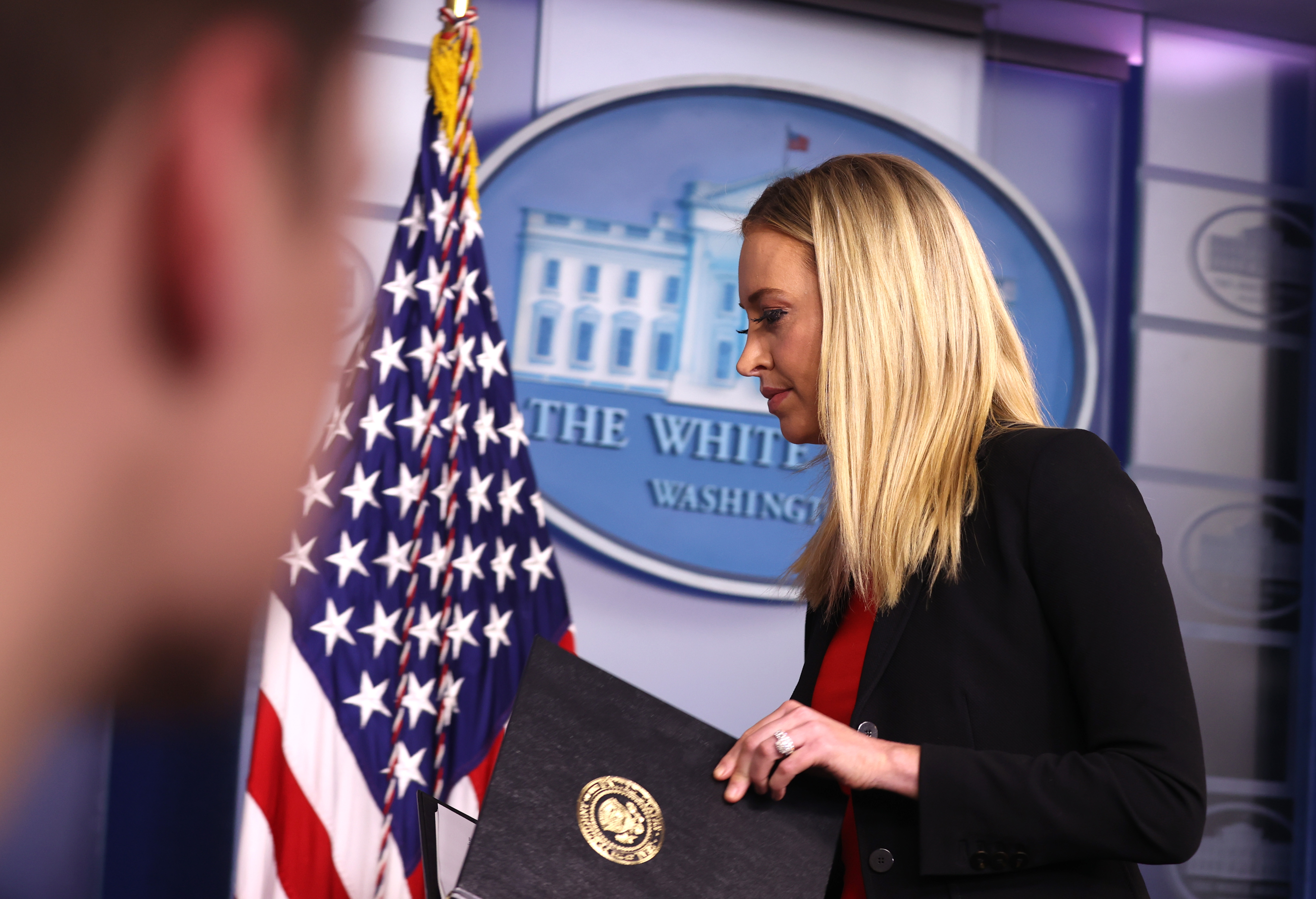 WASHINGTON, DC - JANUARY 07: White House Press Secretary Kayleigh McEnany leaves the podium after making a statement in the James Brady Press Briefing Room on January 07, 2021 in Washington, DC. McEnany delivered remarks a day after armed protesters breached the U.S. Capitol to disrupt the vote to ratify President-elect Joe Biden's 306-232 Electoral College win over President Donald Trump. (Photo by Tasos Katopodis/Getty Images)