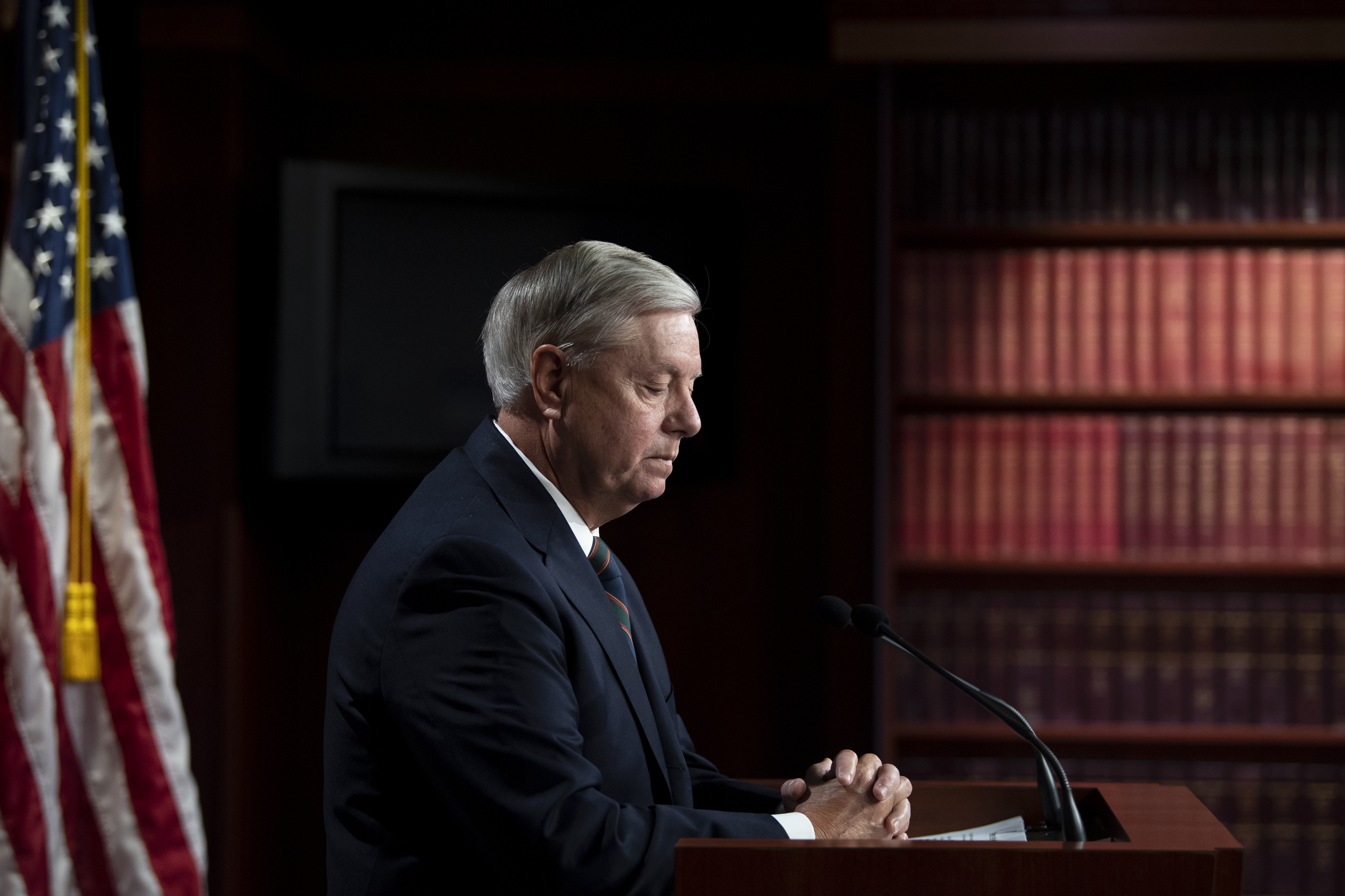 UNITED STATES - January 7: Sen. Lindsey Graham, R-S.C., speaks during a news conference in Washington on Thursday, Jan. 7, 2021. (Photo by Caroline Brehman/CQ-Roll Call, Inc via Getty Images)