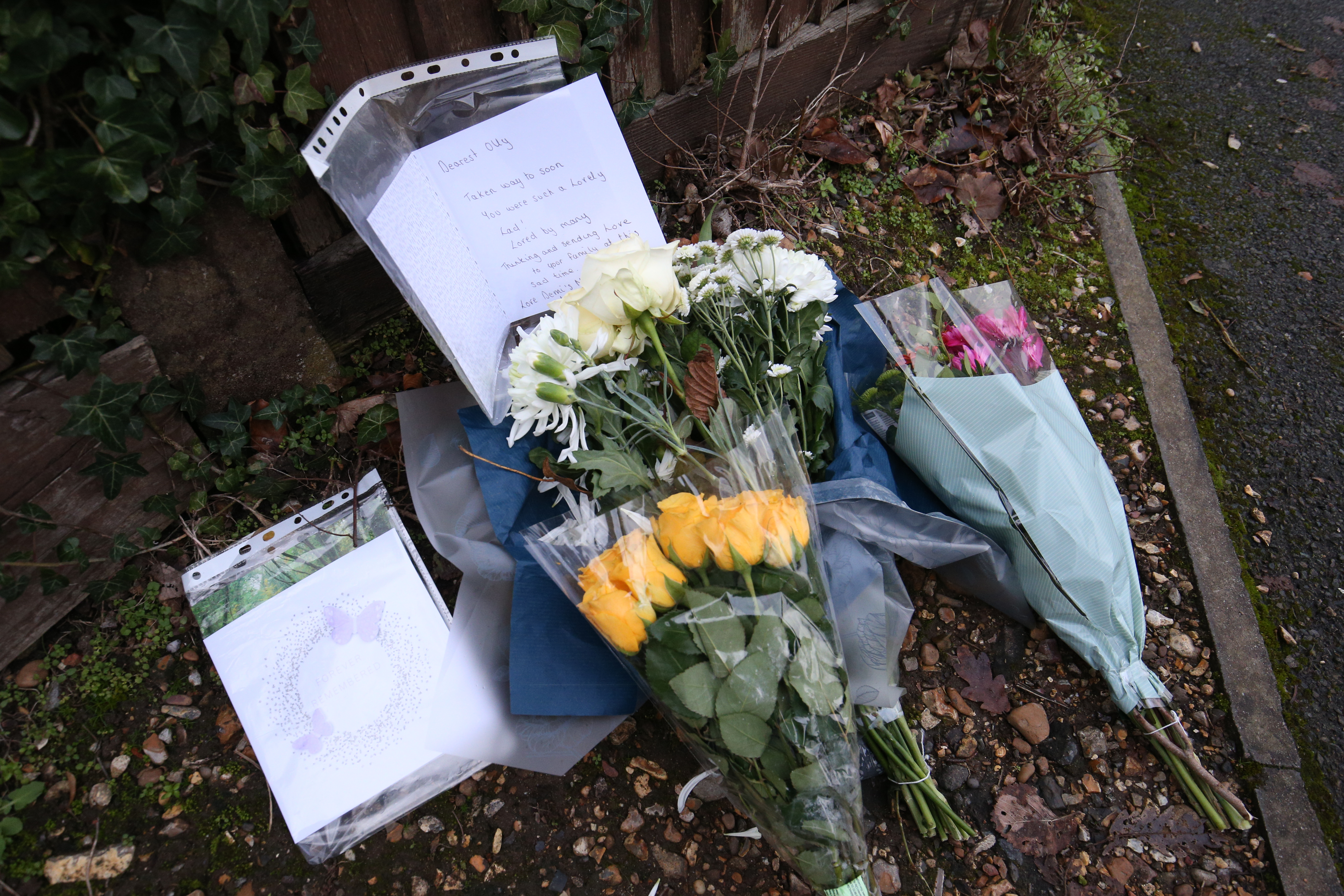 Floral tributes and a card left at the scene in Emmer Green, Reading, where a 13-year-old boy died after being stabbed on Sunday.