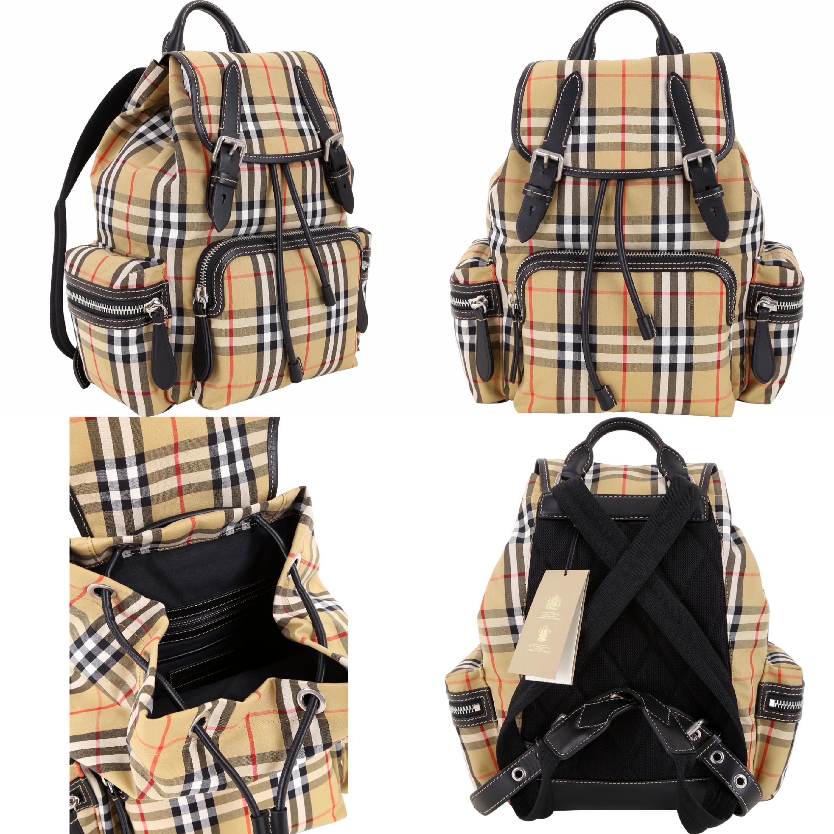 BURBERRY The Rucksack Vintage 中型格紋拼接軍旅背包(古典黃) 潮人人手一只的The Rucksack後背包,其設計靈感源自傳統軍用包