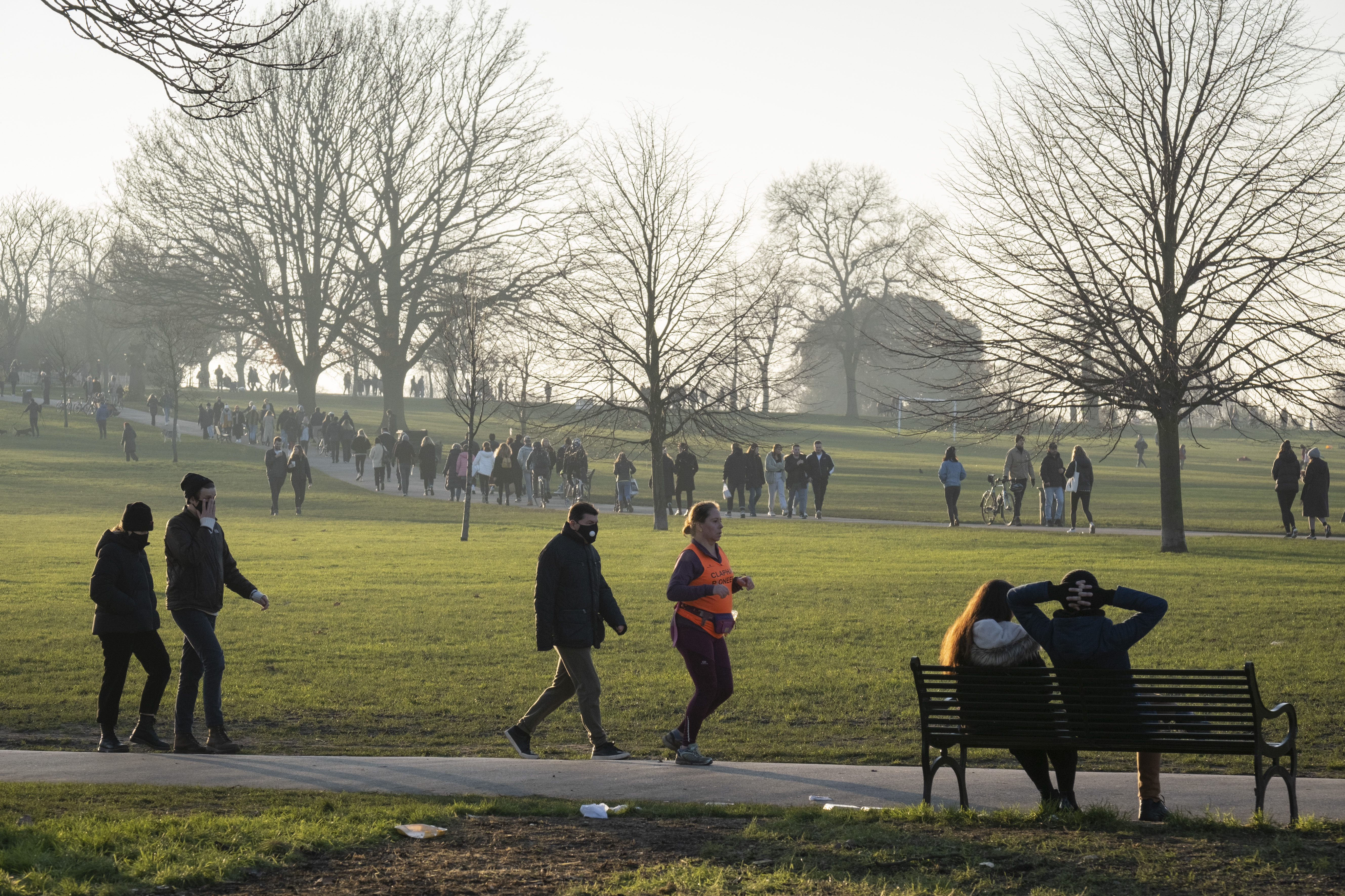 A day after London Mayor Sadiq Khan announced the spread of Covid is said to be out of control, South Londoners take their exercise in a cold Brockwell Park in Lambeth and during the third pandemic lockdown, on 9th January 2021, in London, England. The Coronavirus infection rate in London has exceeded 1,000 per 100,000 people, based on the latest figures from Public Health England although the Office for National Statistics recently estimated as many as one in 30 Londoners has coronavirus. (Photo by Richard Baker / In Pictures via Getty Images)