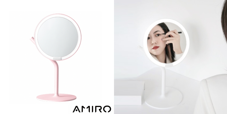 Amiro Mini 2.0 高清日光化妝鏡全新 PURELUX 光源技術、6.5 吋高清鍍銀大鏡面、180° 自由調整鏡面角度,充電一次就能使用一週的蓄電量,還有五種亮度自由調節,讓你在不同光源下也能畫出完美妝容。