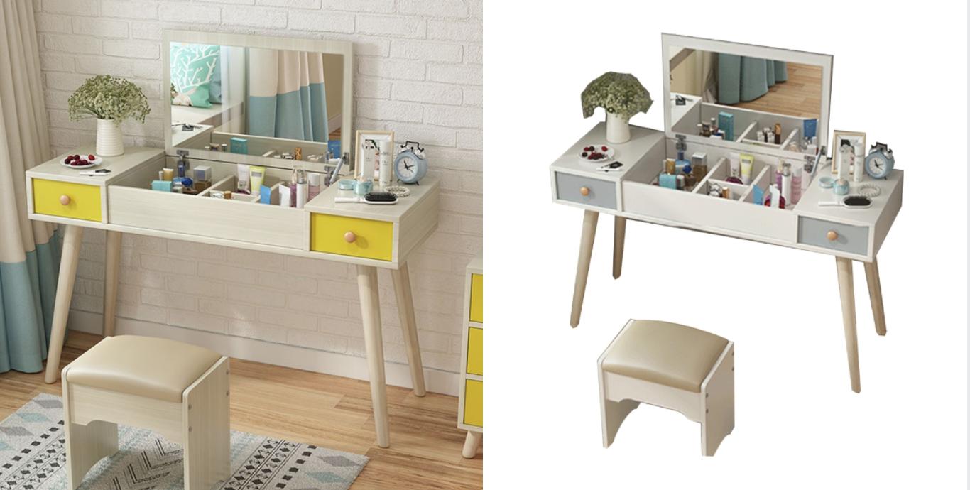 Incare 北歐風化妝桌擁有超大化妝鏡搭配置物空間,分格收納讓你的美妝品更迅速確實的收納。搭配符合桌高的專屬椅凳讓你化妝更舒適。