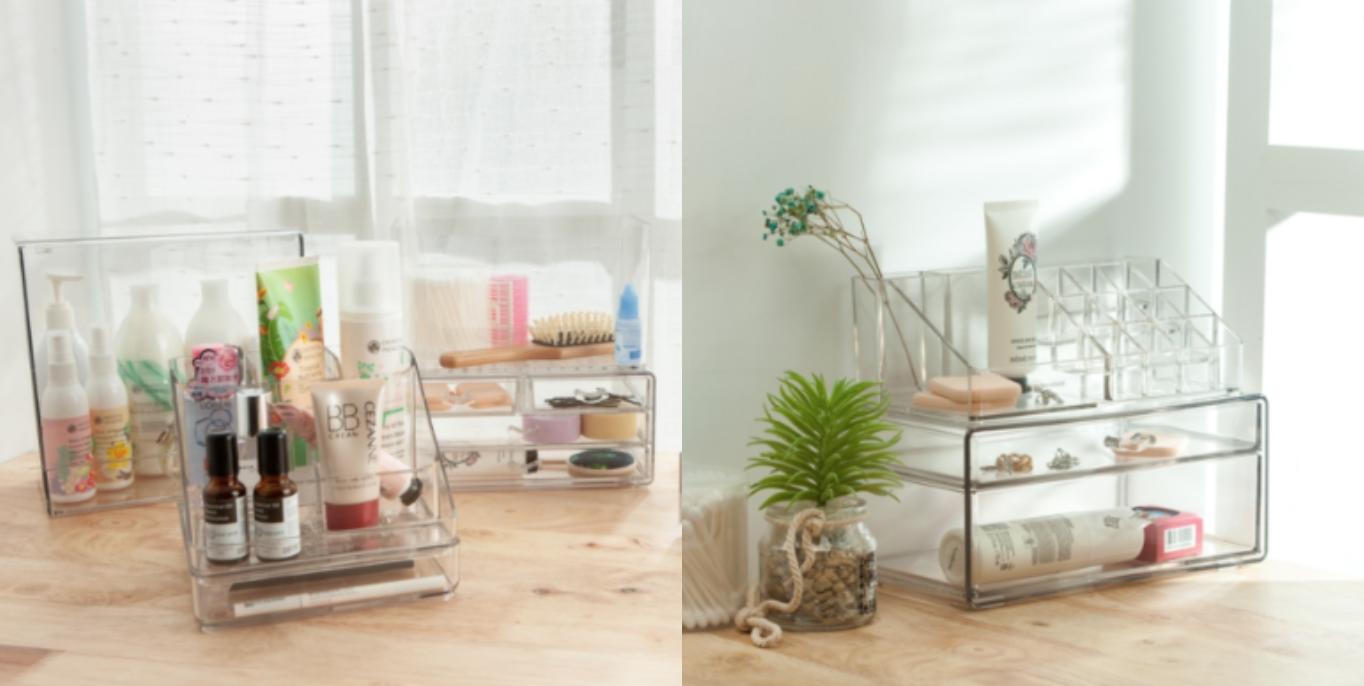 生活工場彩妝置物座能整齊收納梳妝台上的彩妝用品,分隔設計讓商品一目了然。可搭配同系列二抽、四抽收納盒。