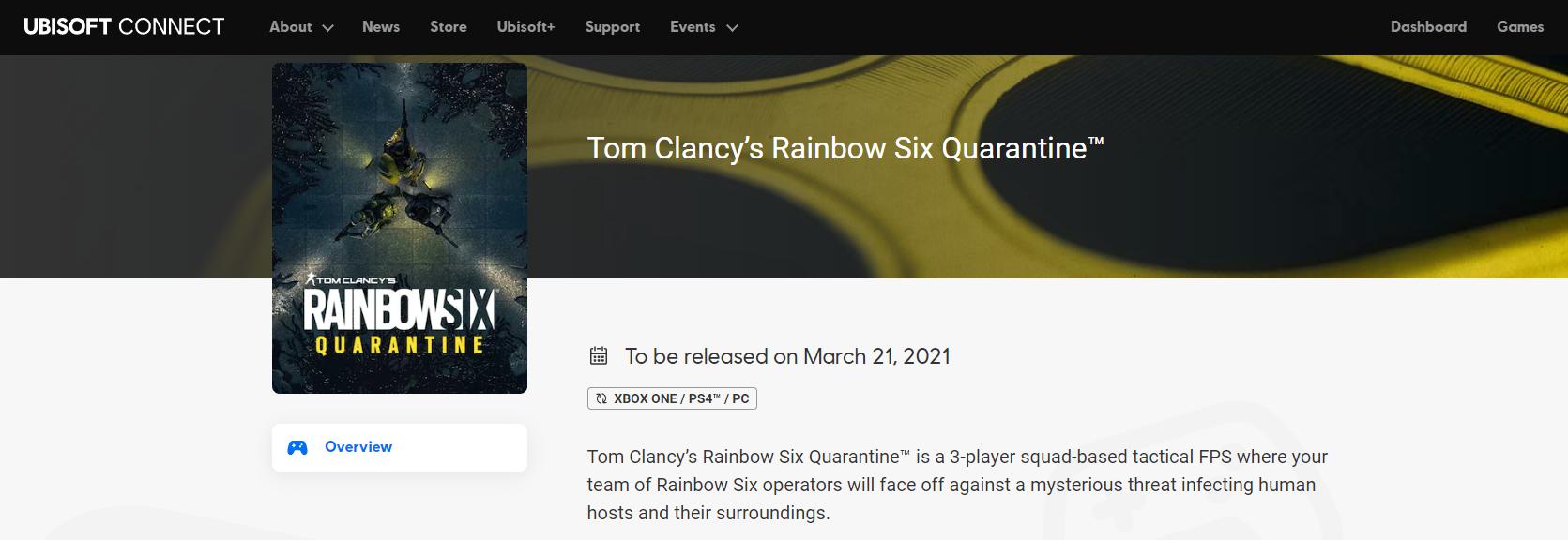 Ubisoft 官網上《虹彩六號:隔離禁區》的發售日其被證實為誤植