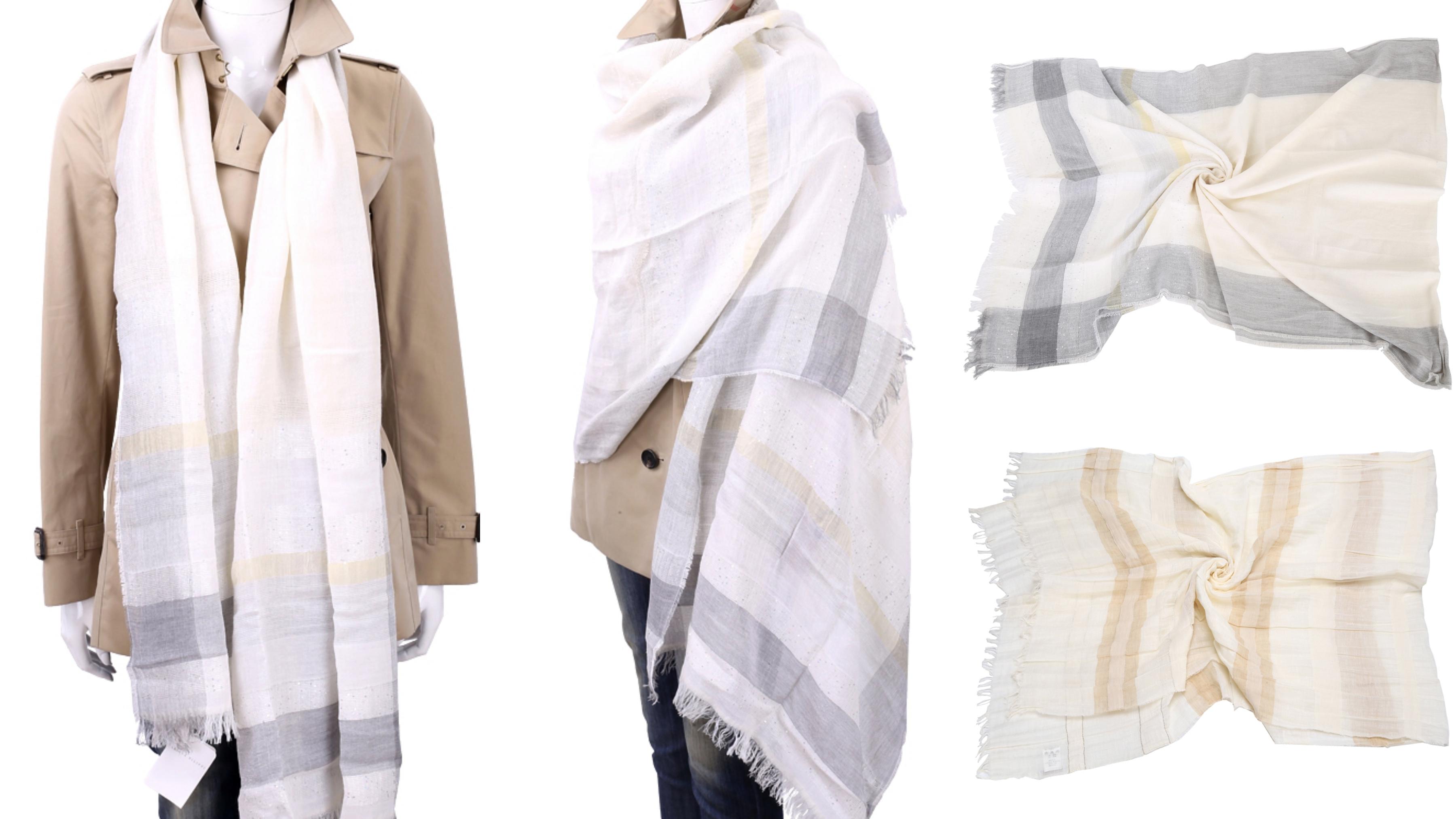 FABIANA FILIPPI 米色流蘇格紋絲綢圍巾 細膩質感散發出獨特品味,格紋透過拼接材質,展現歷久不衰的元素