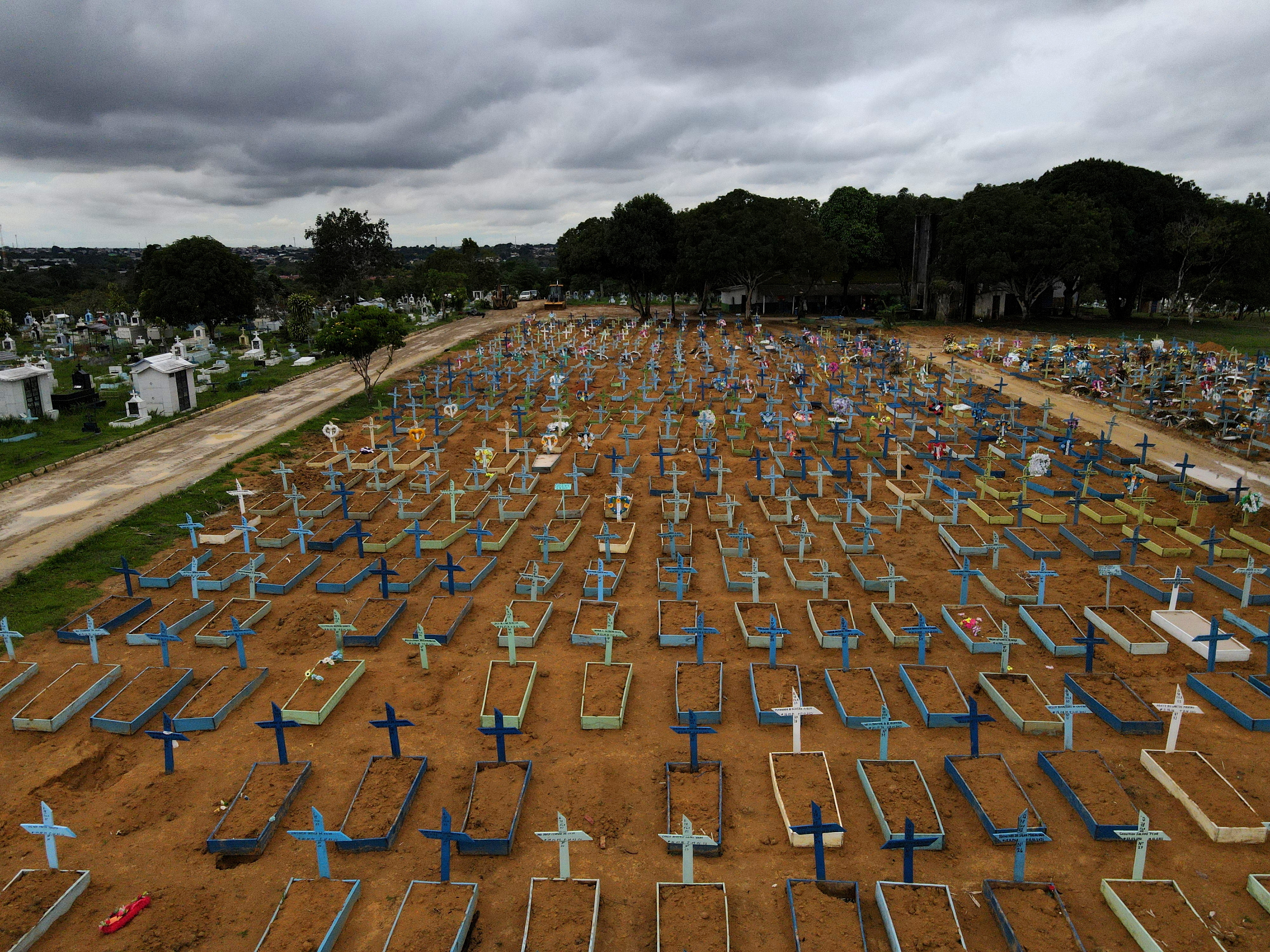 An aerial view of the Parque Taruma cemetery amid the coronavirus disease (COVID-19) outbreak, in Manaus, Amazonas state, Brazil February 25, 2021. Picture taken with a drone. REUTERS/Bruno Kelly     TPX IMAGES OF THE DAY