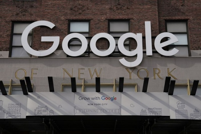 FILE PHOTO: A Google sign is pictured on a Google building in the Manhattan borough of New York City, New York, U.S., October 20, 2020. REUTERS/Carlo Allegri