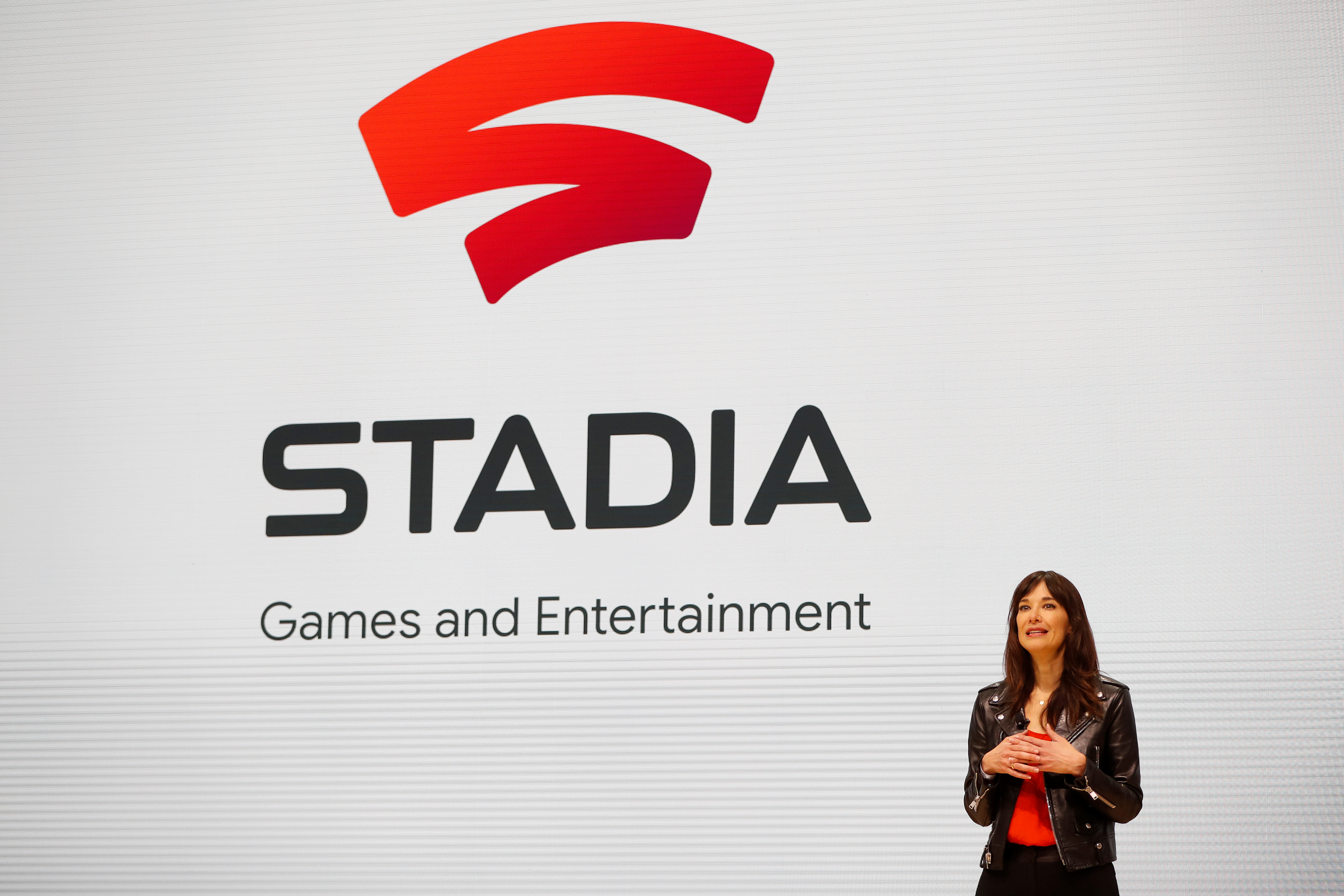 Jade Raymond, head of Google's Stadia Games and Entertainment, speaks on stage during a keynote address at the Game Developers Conference in San Francisco, California, U.S., March 19, 2019. REUTERS/Stephen Lam