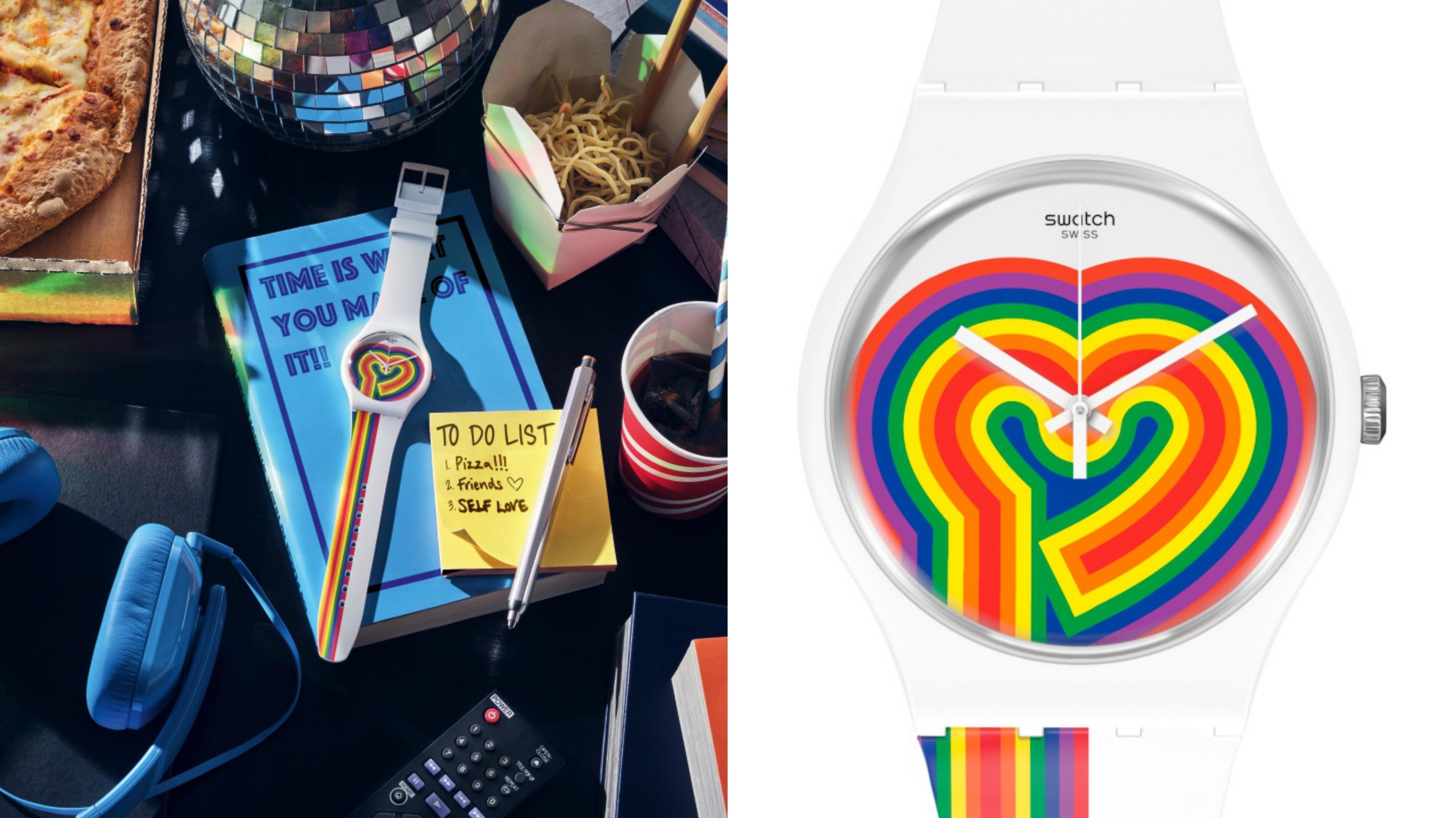 以純白系時尚錶款融入1970年代的復古情調,錶盤上的彩虹線條彷彿是全身脈搏撲通撲通