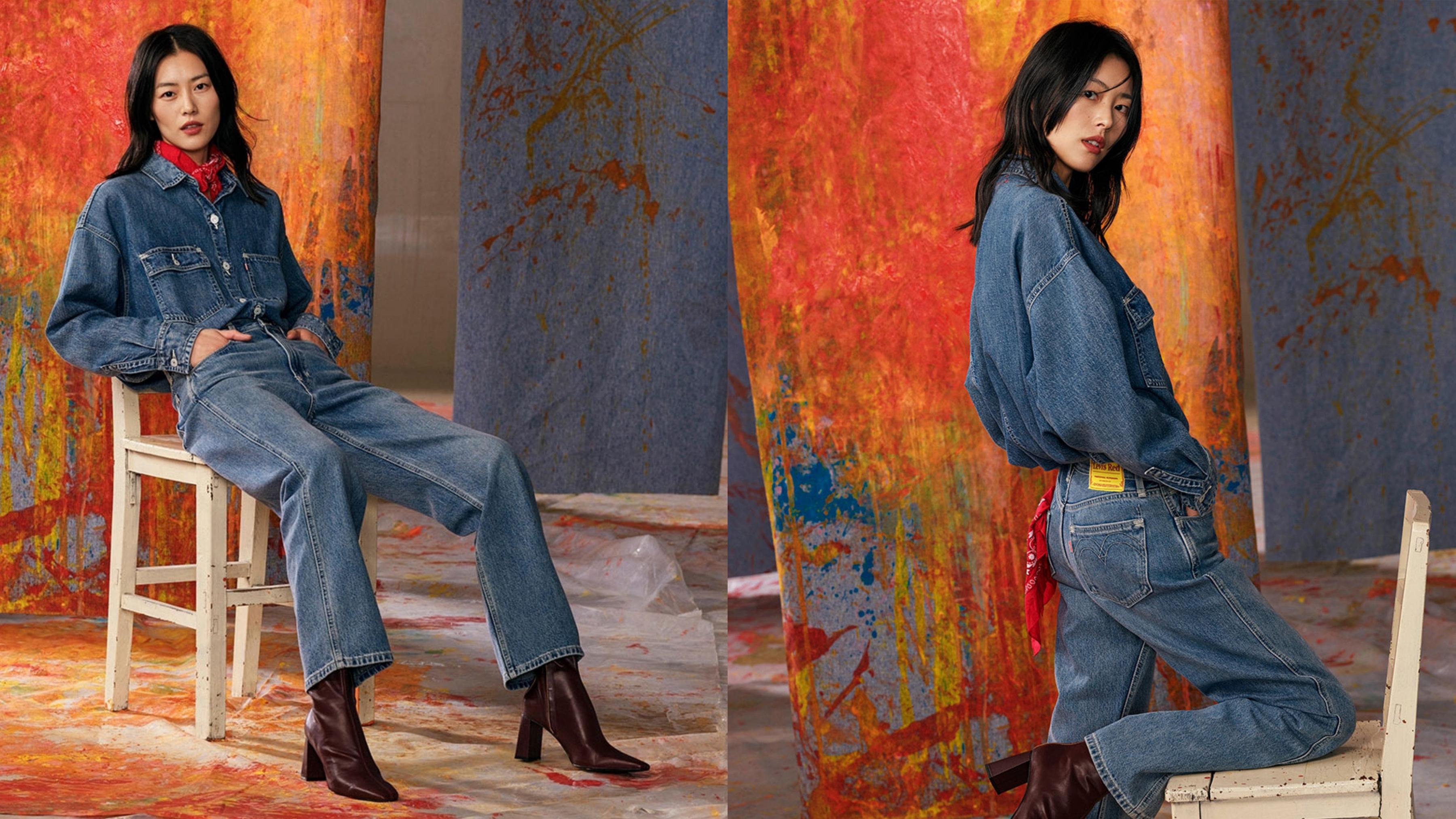 精工中藍水洗的復古中腰直筒牛仔寬褲,新舊元素設計碰撞,加上修身小心機,穿上顯瘦顯高挑