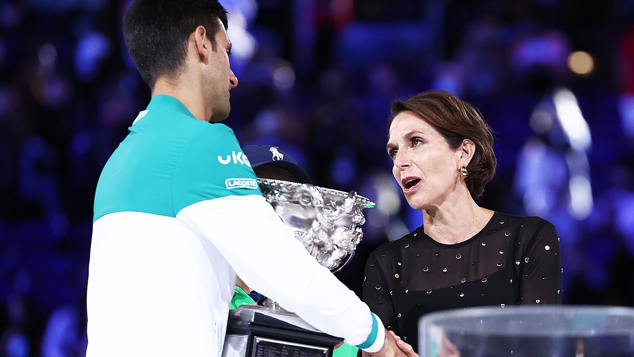 Jayne Hrdlicka and Novak Djokovic, pictured here after the Australian Open final.