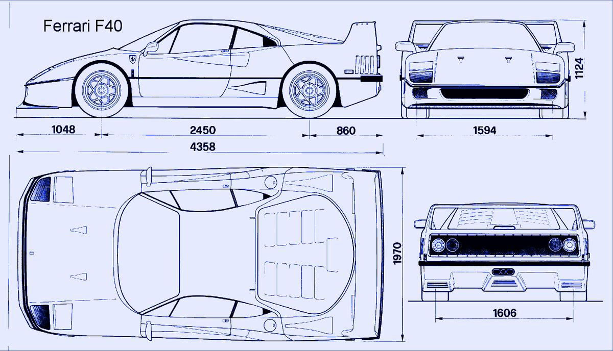 F40當時設計的尺寸藍圖 ©drawingdatabase.com