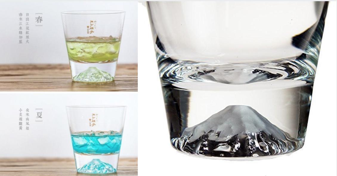 東京的傳統工藝「江戸硝子」 × 世界遺產「富士山」的融合,這款富士山玻璃杯榮獲2015日本國土交通觀光廳廳長獎,隨著杯中註入酒水顏色的不同富士山將在你眼前呈現出不同的顏色。