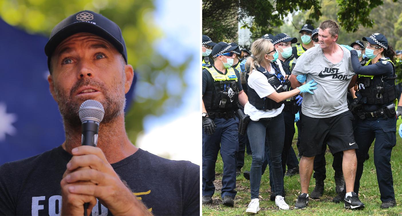 'F****** begged': Pete Evan's bizarre speech at anti-vaccine protest