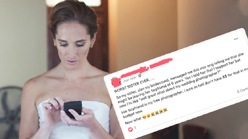 'Worst sister ever': Bride's jaw-dropping message backfires