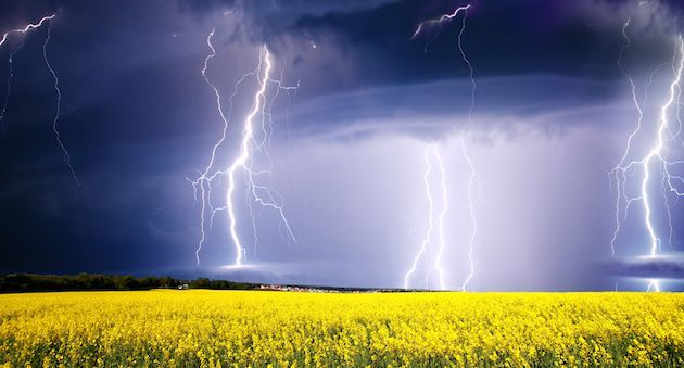 summer storm beginning with lightning; Shutterstock ID 100149458; PO: aol; Job: production; Client: drone