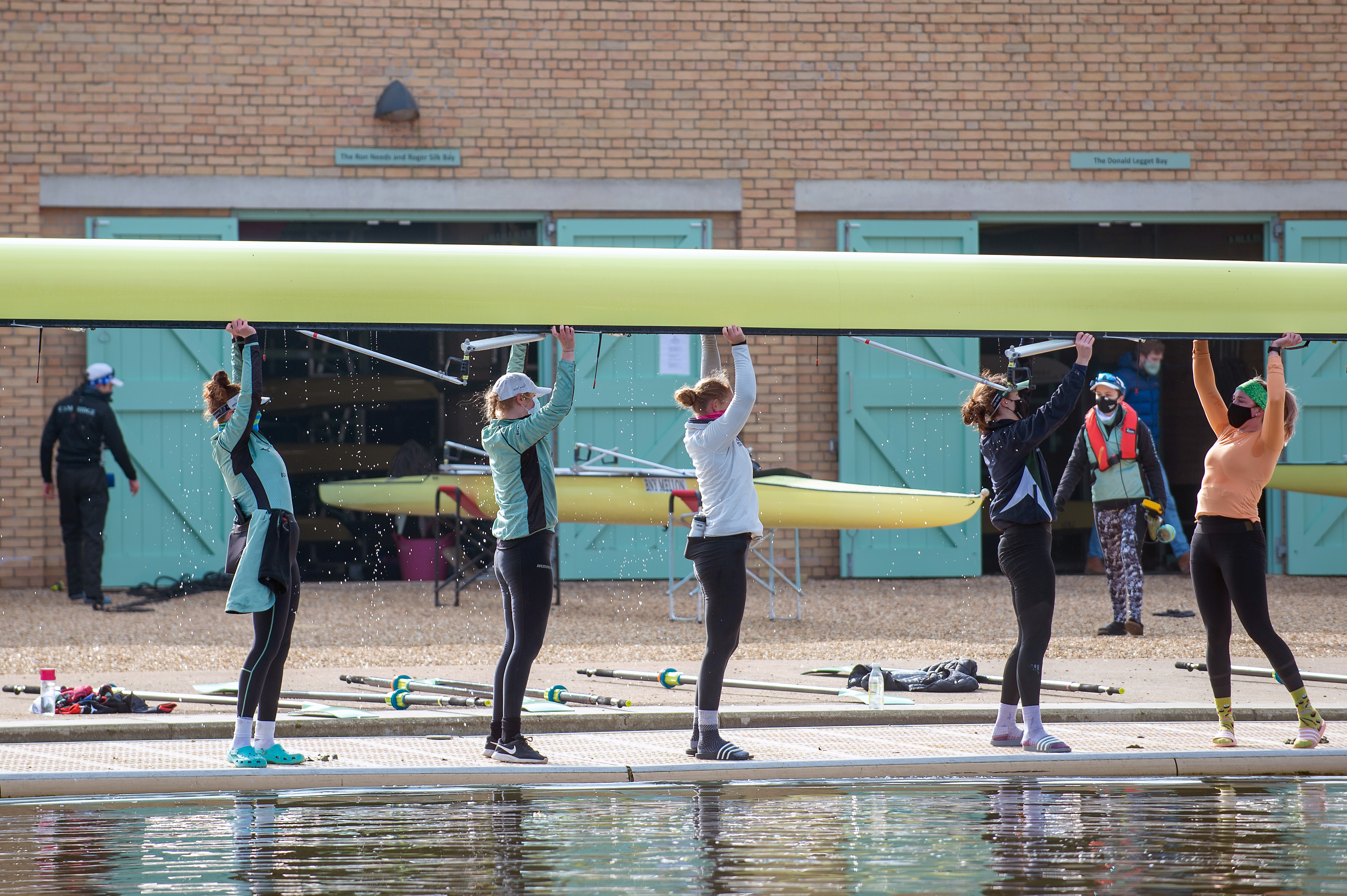 <p>Cambridge University Boat Club crews train on the River Great Ouse near Ely in Cambridgeshire for the first time, as the Blue boats of Cambridge University Boat Club can return to training on the water from today under the strict Covid guidelines for elite sport agreed with the UK government.</p>