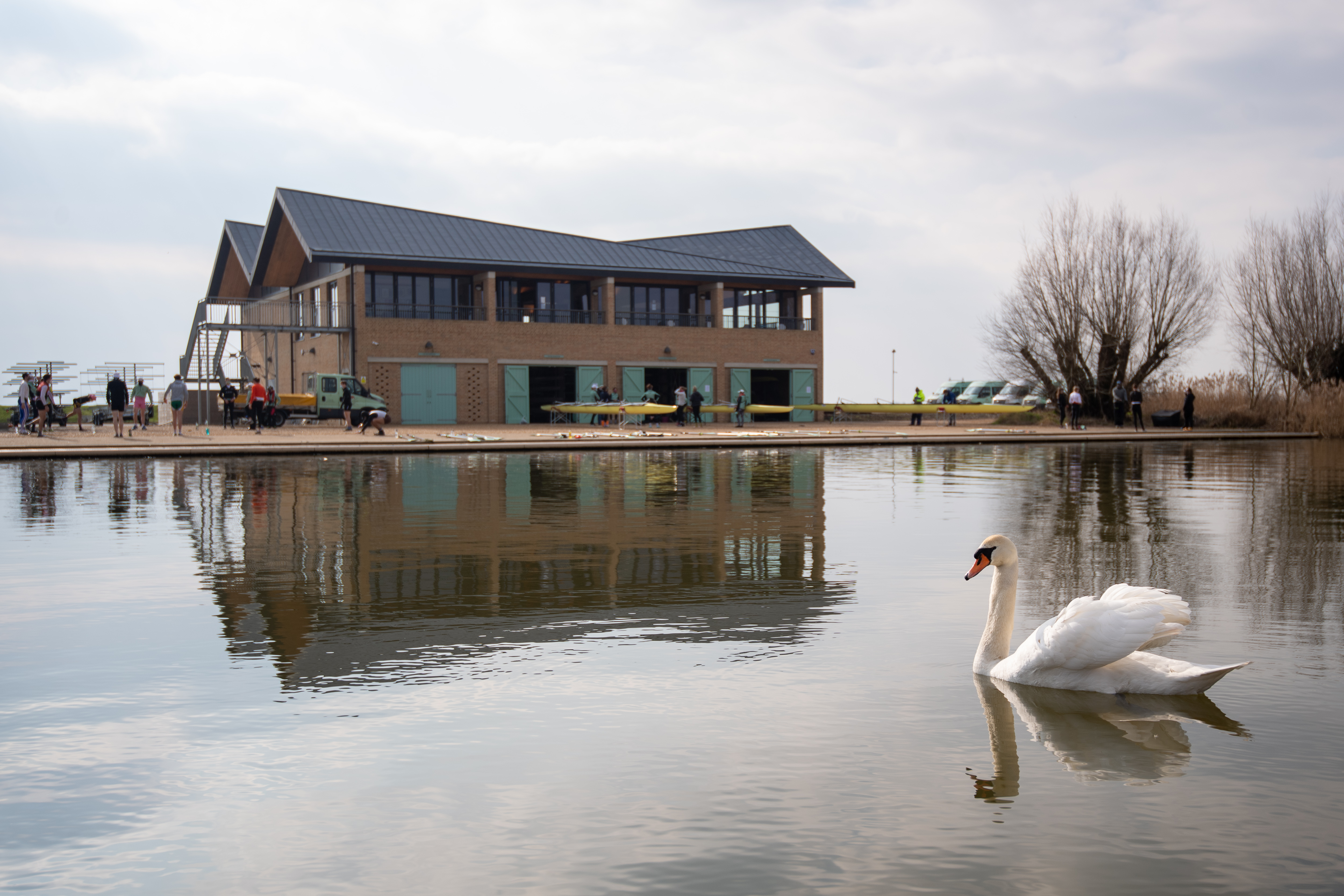 <p>A swan passes the Cambridge University Boat Club as crews train on the River Great Ouse near Ely in Cambridgeshire for the first time, as the Blue boats of Cambridge University Boat Club can return to training on the water from today under the strict Covid guidelines for elite sport agreed with the UK government.</p>