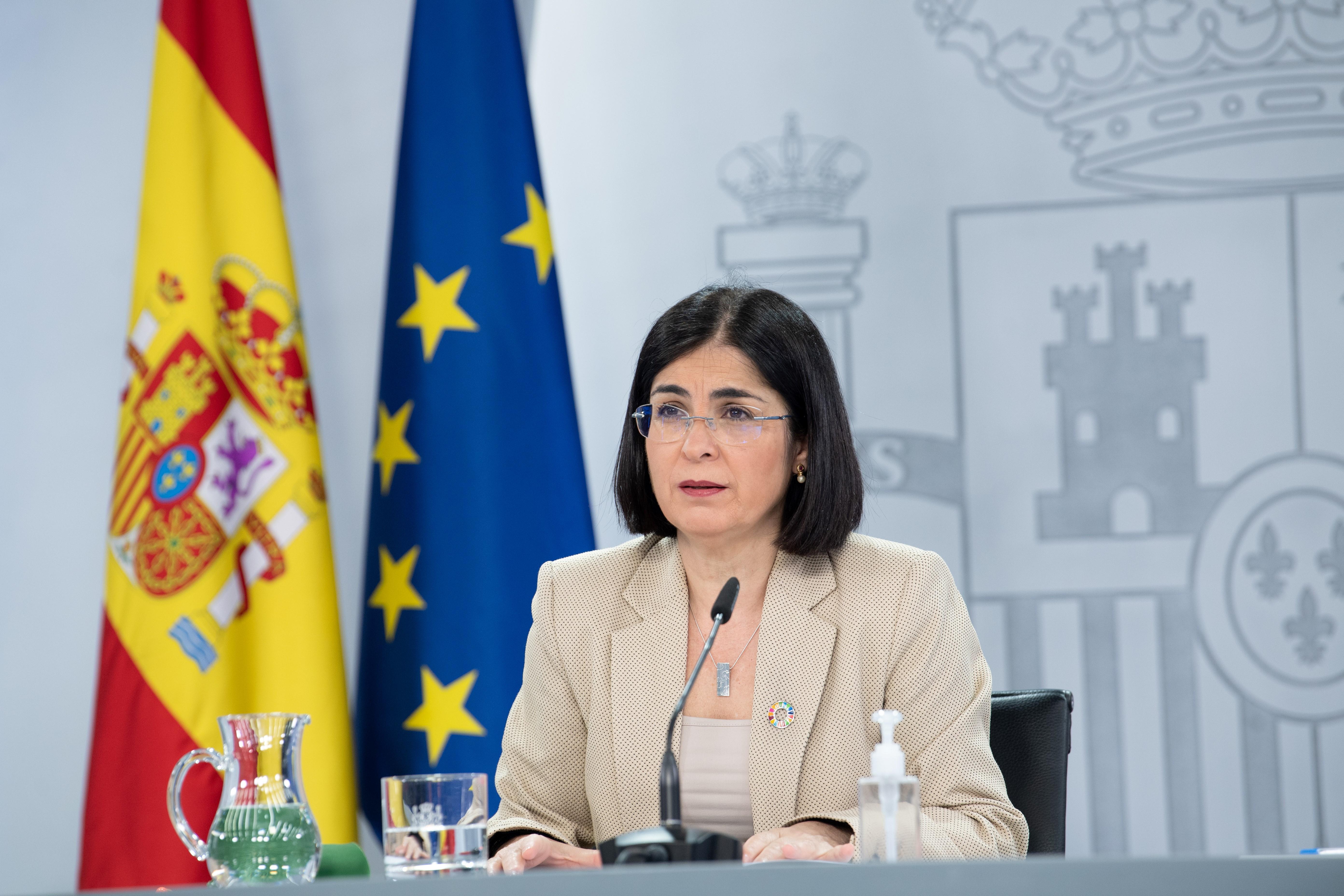 La Ministra de Sanidad Carolina Darias durante una rueda de prensa   Borja Puig de la Bellacasa/Xinhua /Getty