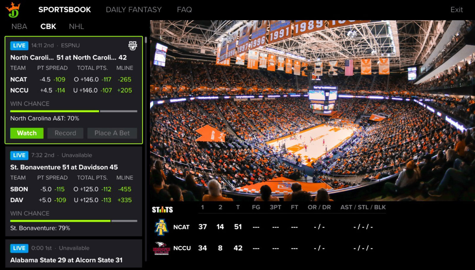 You can make DraftKings sports bets using your Dish DVR