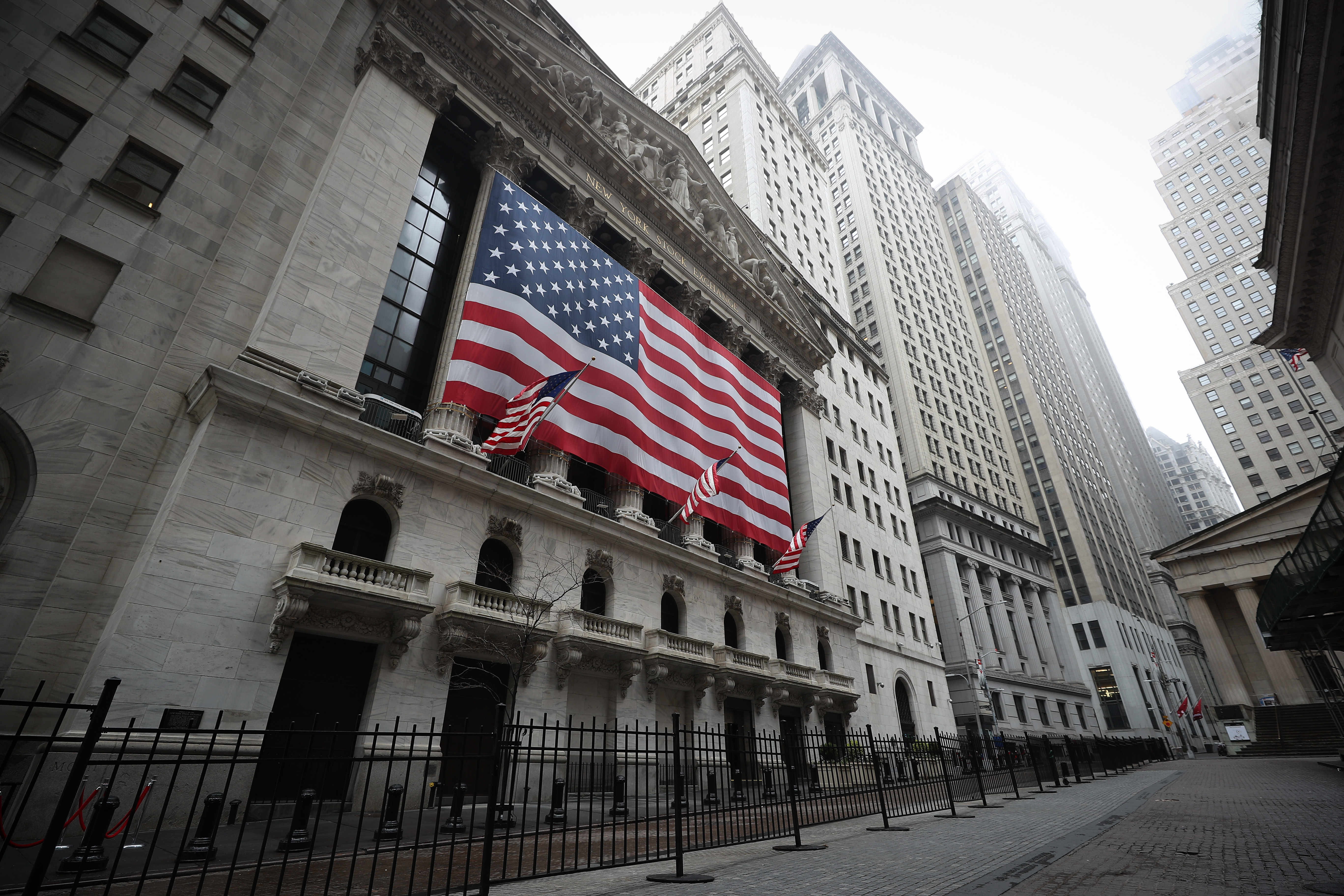 NEW YORK, USA - MARCH 29: New York Stock Exchange building is seen at the Financial District in New York City, United States on March 29, 2020. New York is ranked as one of the largest International Financial Centres (