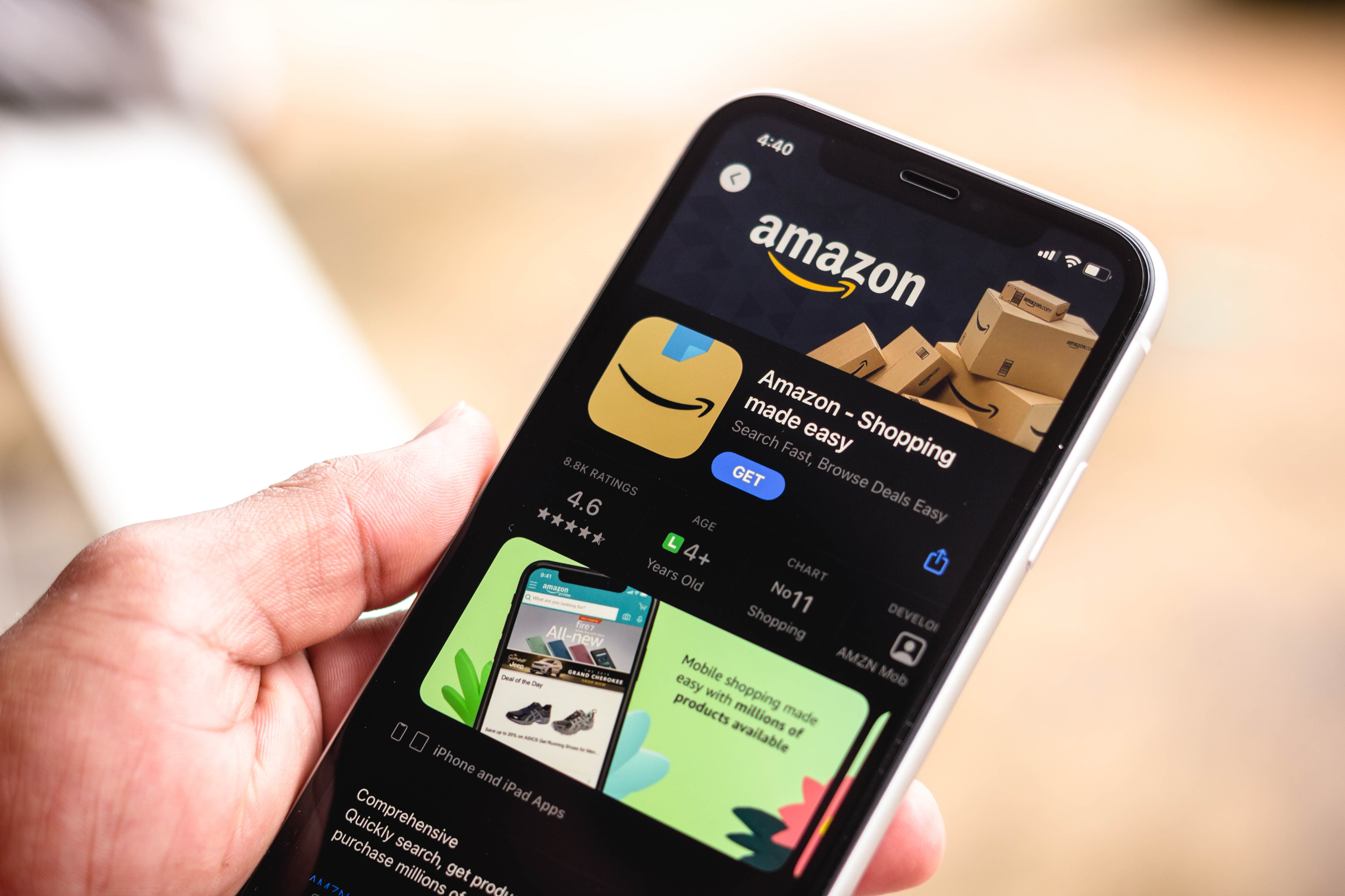 BRAZIL - 2021/03/16: In this photo illustration the Amazon Shopping logo in App Store seen displayed on a smartphone screen. (Photo Illustration by Rafael Henrique/SOPA Images/LightRocket via Getty Images)