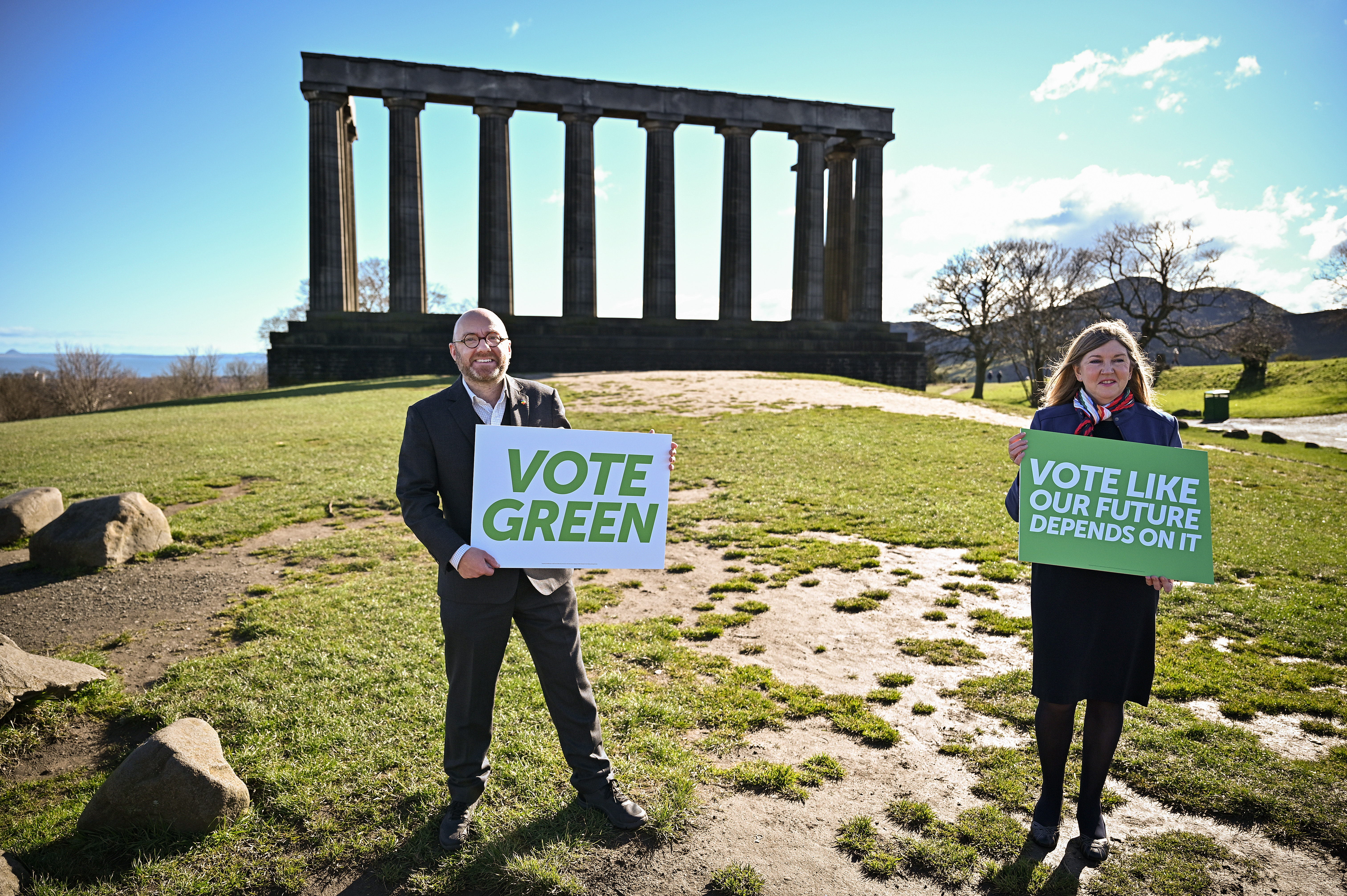 <p>EDINBURGH, SCOTLAND - MARCH 16: Scottish Greens co-leader Patrick Harvie and Alison Johnstone MSP attend the campaign launch for the 2021 Holyrood election at Calton Hill on March 16, 2021 in Edinburgh, Scotland. The party unveiled the new slogan 'Vote Like Our Future Depends on It' as it launched its campaign for the election on 6 May. (Photo by Jeff J Mitchell/Getty Images)</p>