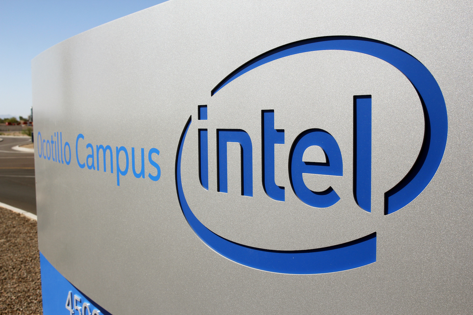 The logo for the Intel Corporation is seen on a sign outside the Fab 42 microprocessor manufacturing site in Chandler, Arizona, U.S., October 2, 2020. REUTERS/Nathan Frandino - RC2MAJ9LXSDX