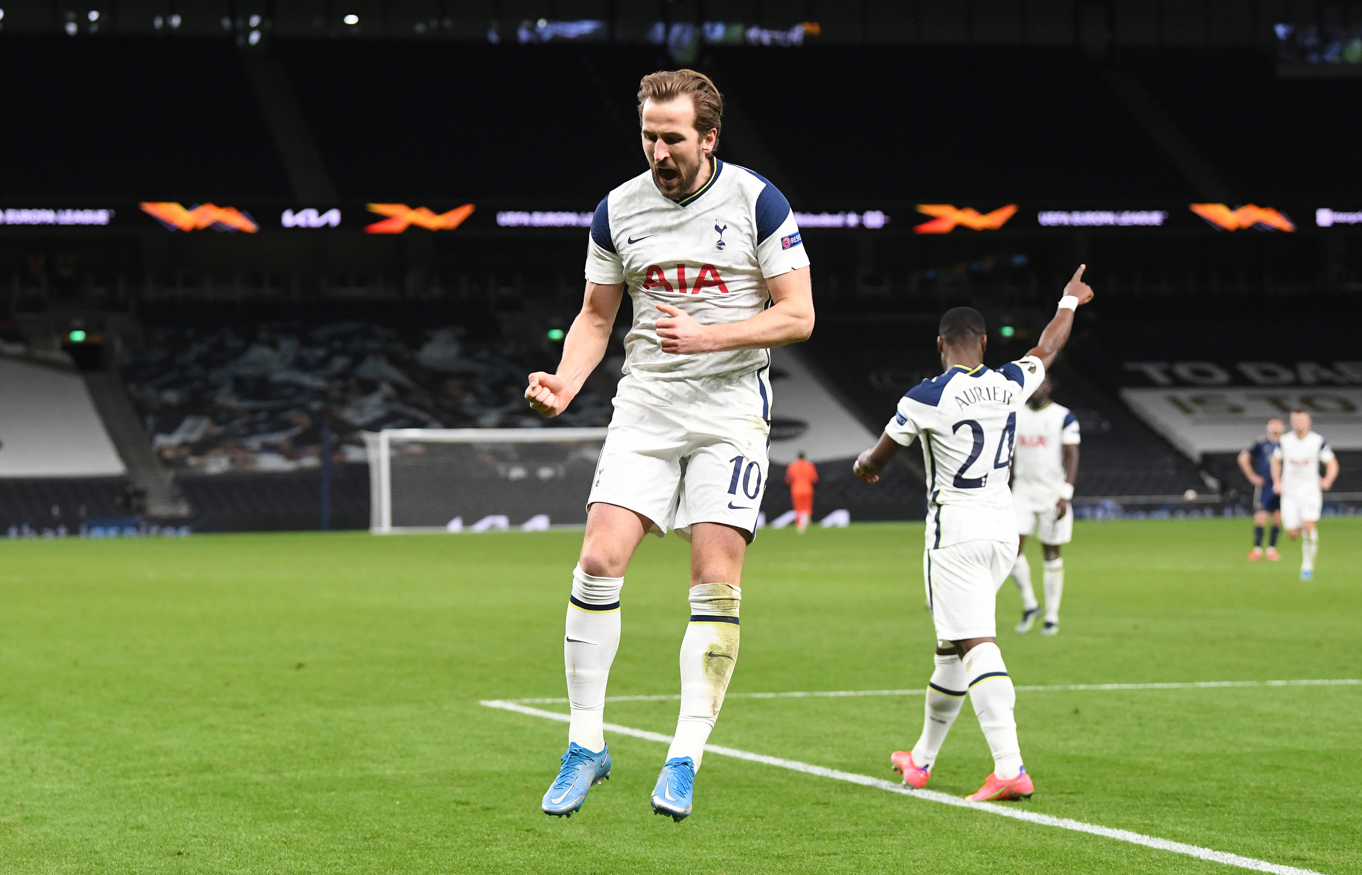 <p>Tottenham Hotspur's Harry Kane celebrates scoring their side's second goal of the game during the UEFA Europa League Round of Sixteen match at the Tottenham Hotspur Stadium, London. Picture date: Thursday March 11, 2021.</p>