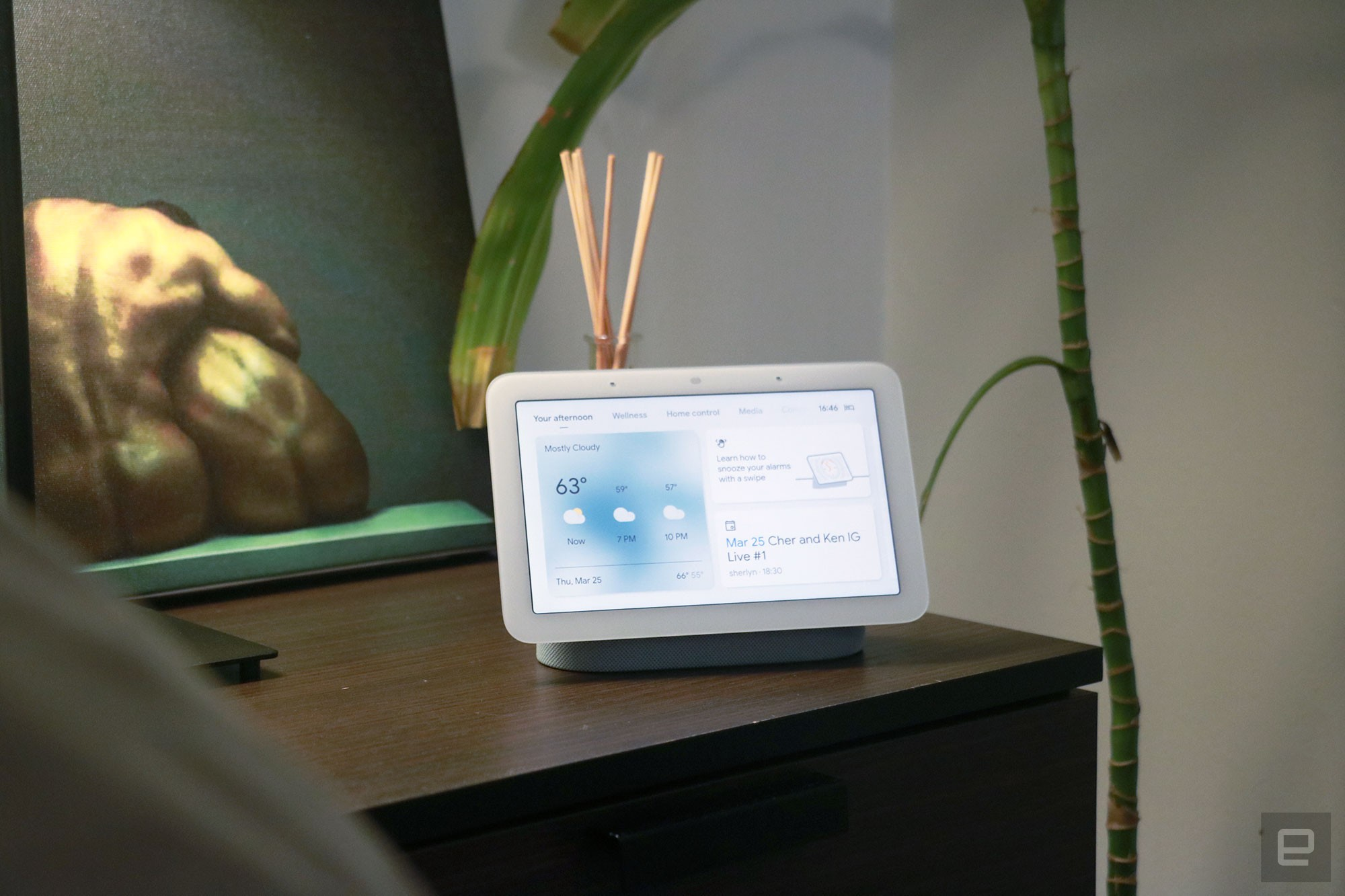<p>Google Nest Hub 2021 (2nd gen) photo. Picture of Google's newest smart display on a nightstand.</p>