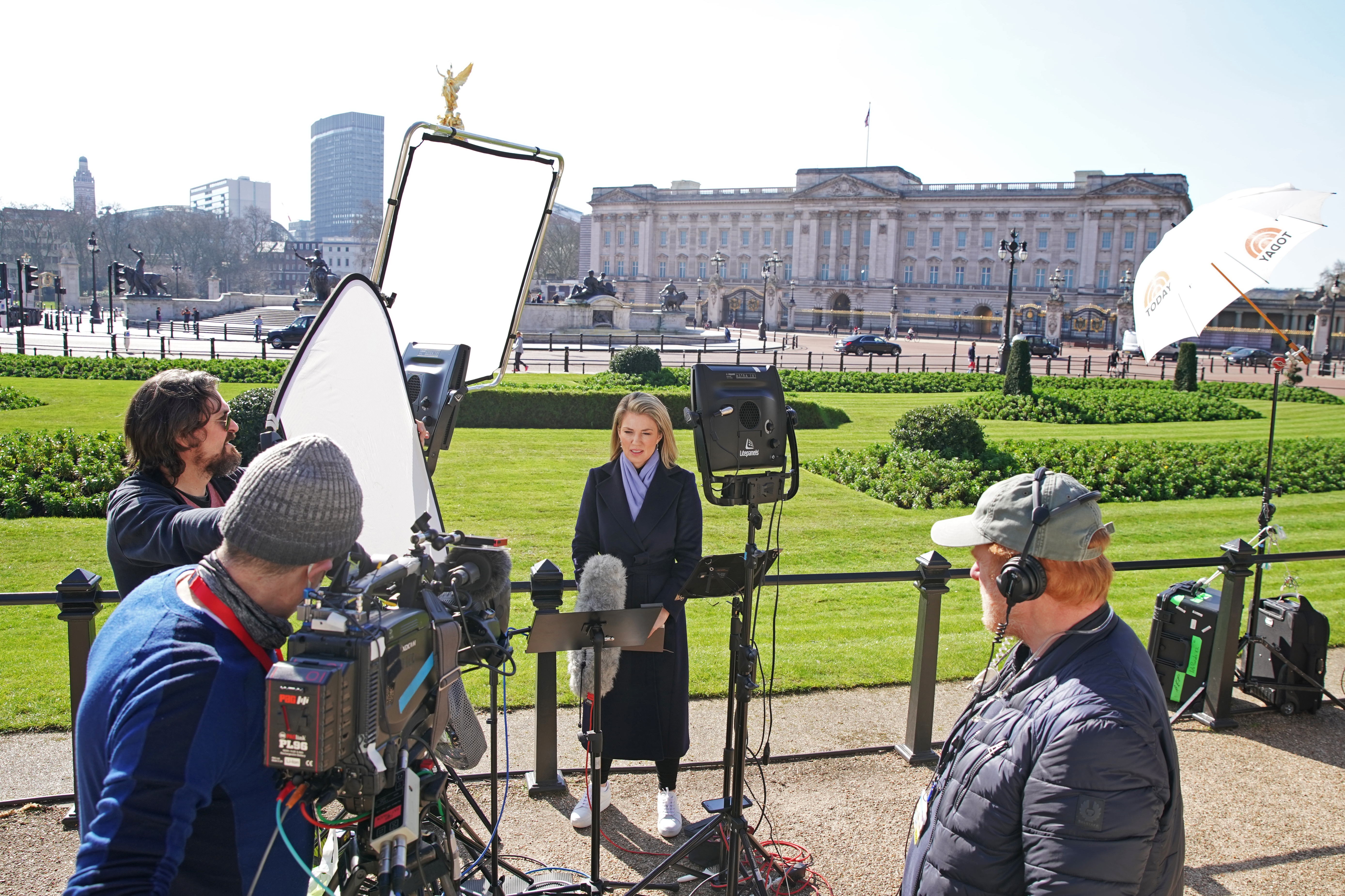 <p>Members of the media outside Buckingham Palace in London the day after the Duke and Duchess of Sussex's interview with Oprah Winfrey was broadcast on ITV in the UK. Picture date: Tuesday March 9, 2021.</p>