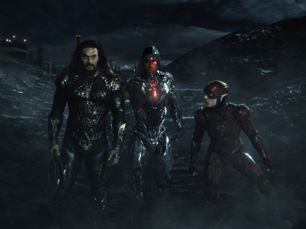 Aquaman (Jason Momoa), Cyborg (Ray Fischer), and the Flash (Ezra Miller) in Zack Snyder's Justice League. (HBO)