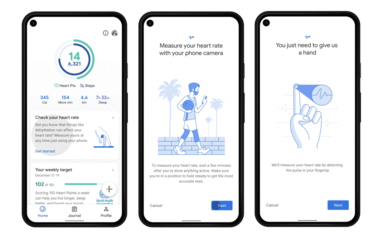 Google Fit heart and breathing rate trackers