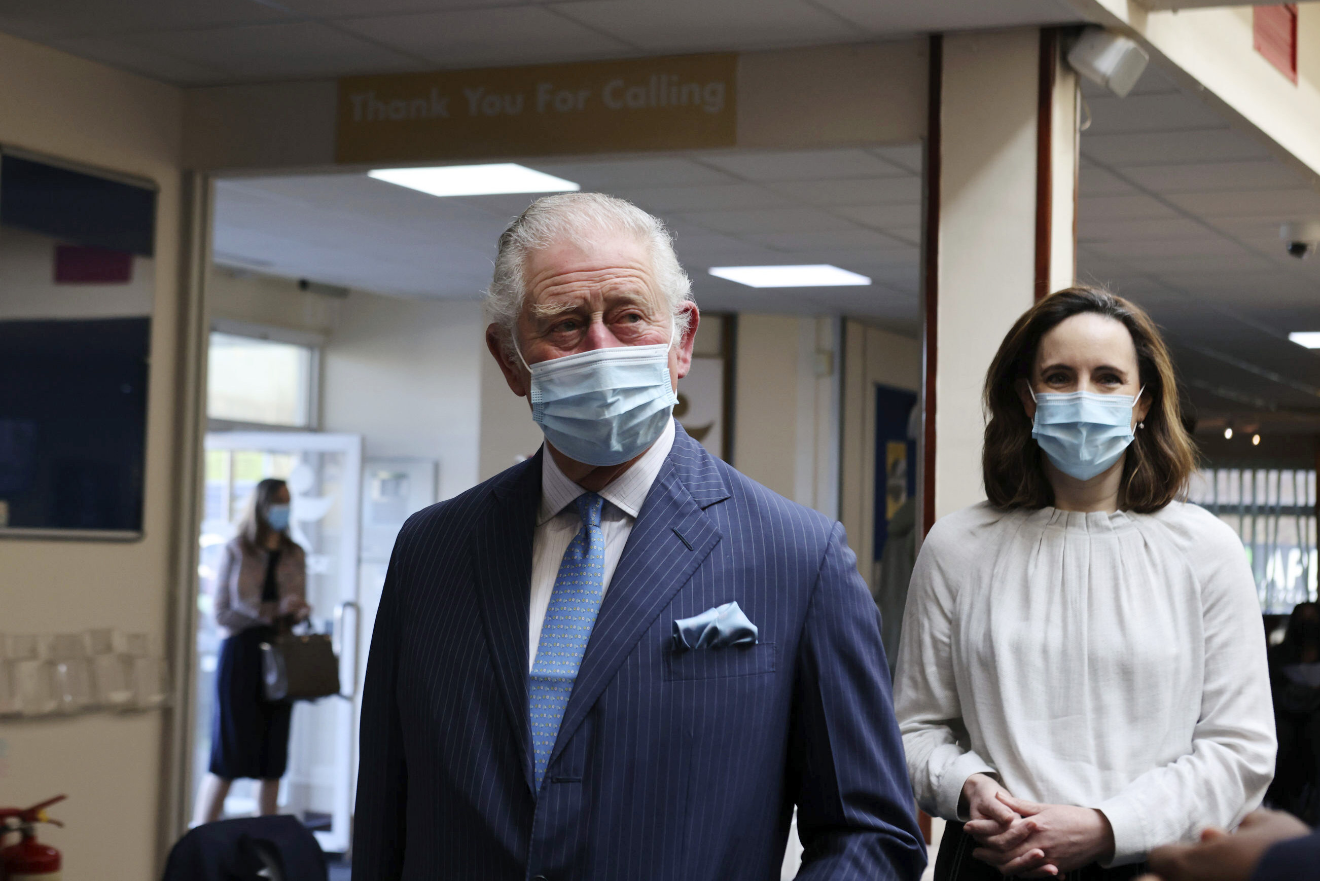 <p>Britain's Prince Charles arrives for a visit to an NHS vaccine pop-up clinic at Jesus House church, London, Tuesday March 9, 2021, where he has been told about work to combat vaccine hesitancy and support for the community during the coronavirus pandemic. (Ian Vogler/Pool via AP)</p>
