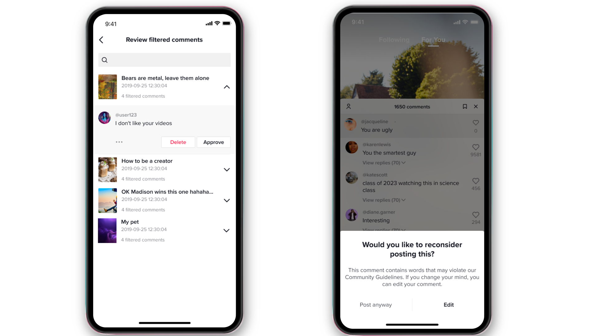 TikTok's new anti-bullying features give users more control of their comments.