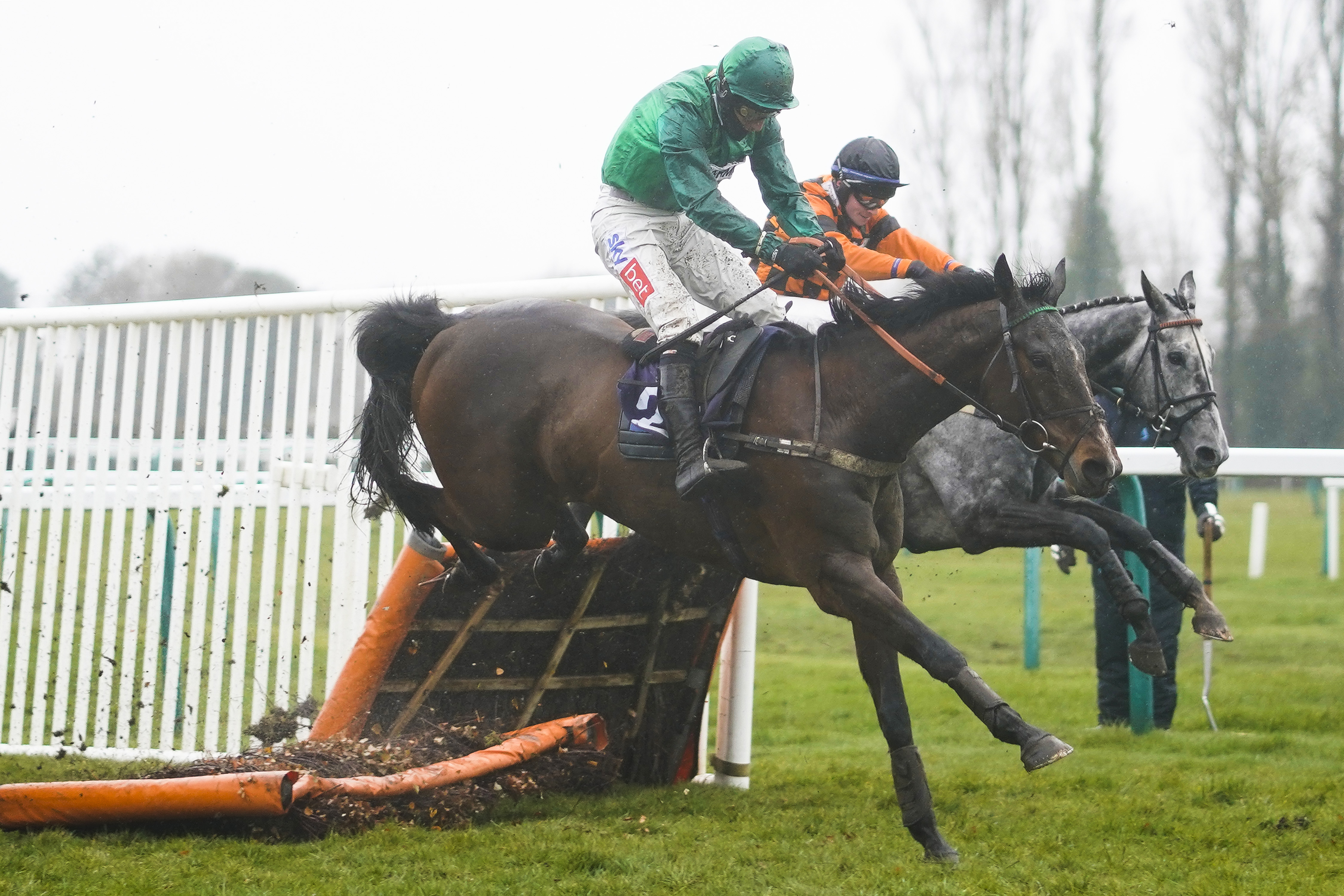 <p>FONTWELL, ENGLAND - MARCH 10: Daryl Jacob riding Valleres (green) clear the last to win The MansionBet Faller Insurance Novices' Hurdle at Fontwell Park Racecourse on March 10, 2021 in Fontwell, England. Due to the coronavirus pandemic, owners along with the paying public will not be allowed to attend the meeting. (Photo by Alan Crowhurst/Getty Images)</p>