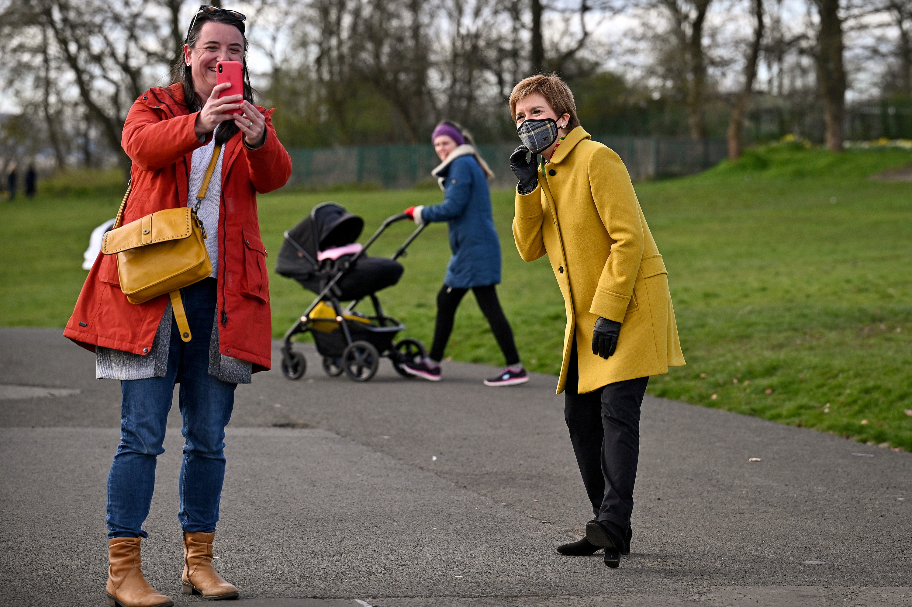 <p>First Minister and leader of the Scottish National Party (SNP), Nicola Sturgeon, in Queen's Park, Glasgow, during campaigning for the Scottish Parliamentary election. Picture date: Wednesday April 7, 2021.</p>