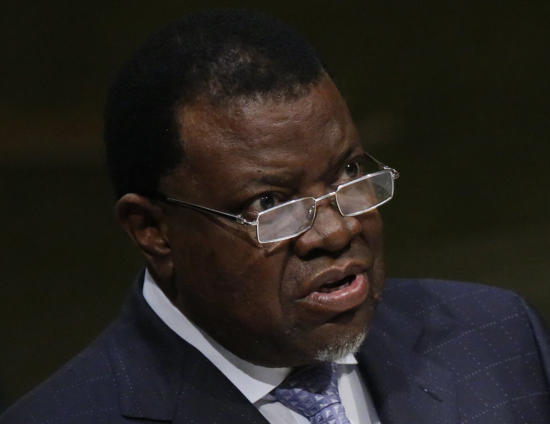 President Hage Geingob of Namibia addresses attendees during the 70th session of the United Nations General Assembly at the U.N. Headquarters in New York, September 29, 2015.   REUTERS/Carlo Allegri