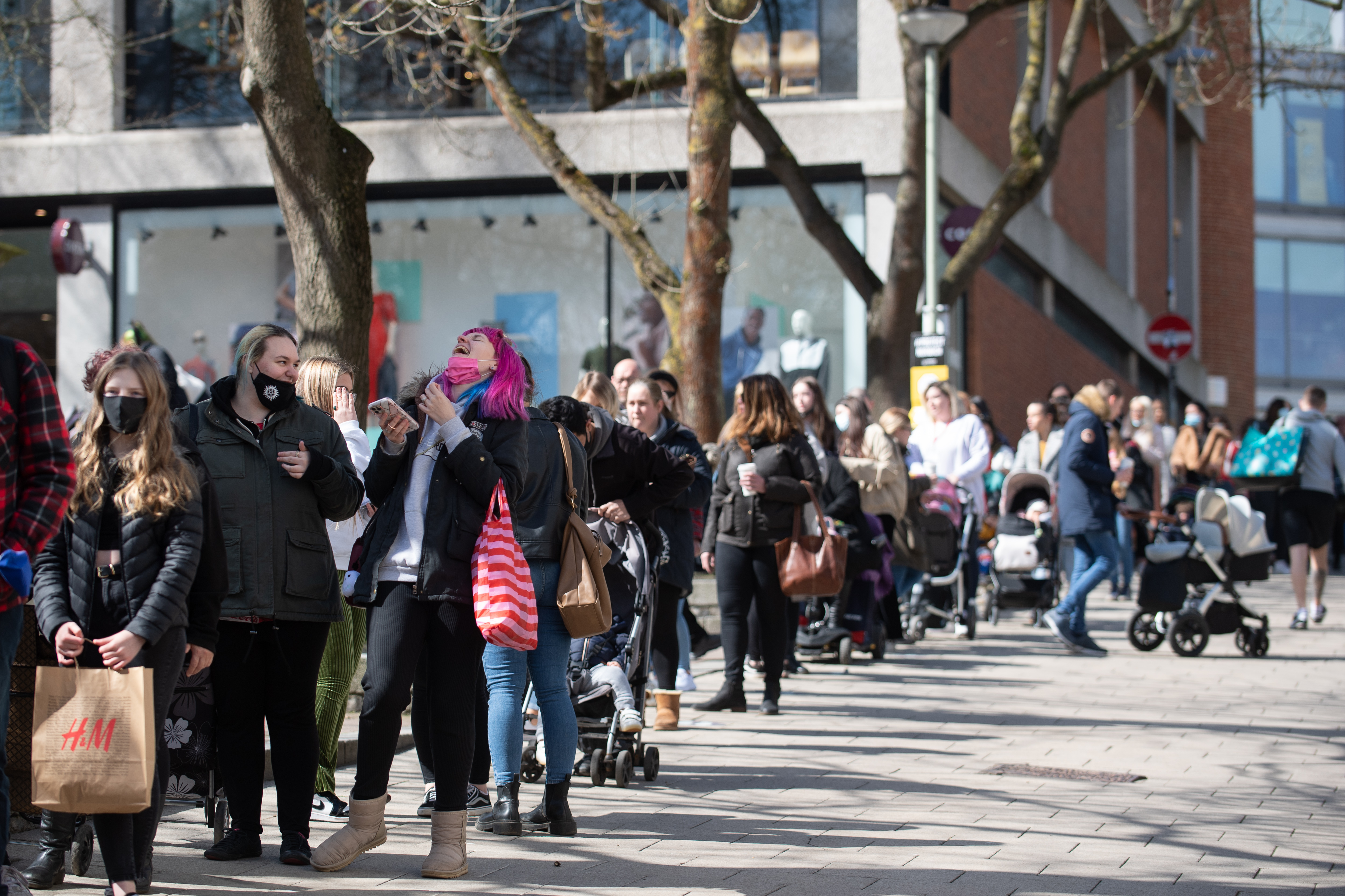 <p>Shoppers queue outside Primark in Norwich as England takes another step back towards normality with the further easing of lockdown restrictions. Picture date: Monday April 12, 2021.</p>
