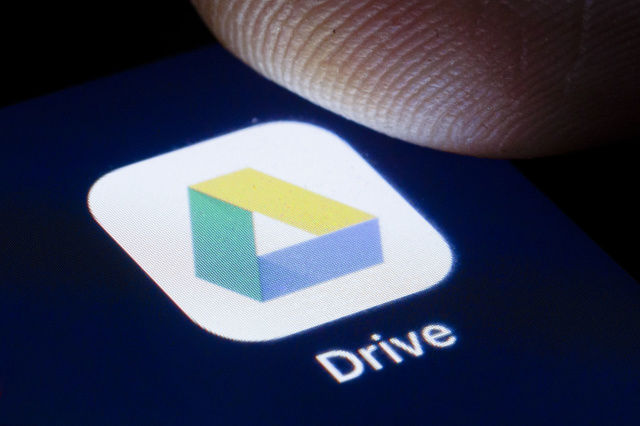 BERLIN, GERMANY - APRIL 22: The logo of the filehosting service Google Drive is shown on the display of a smartphone on April 22, 2020 in Berlin, Germany. (Photo by Thomas Trutschel/Photothek via Getty Images)