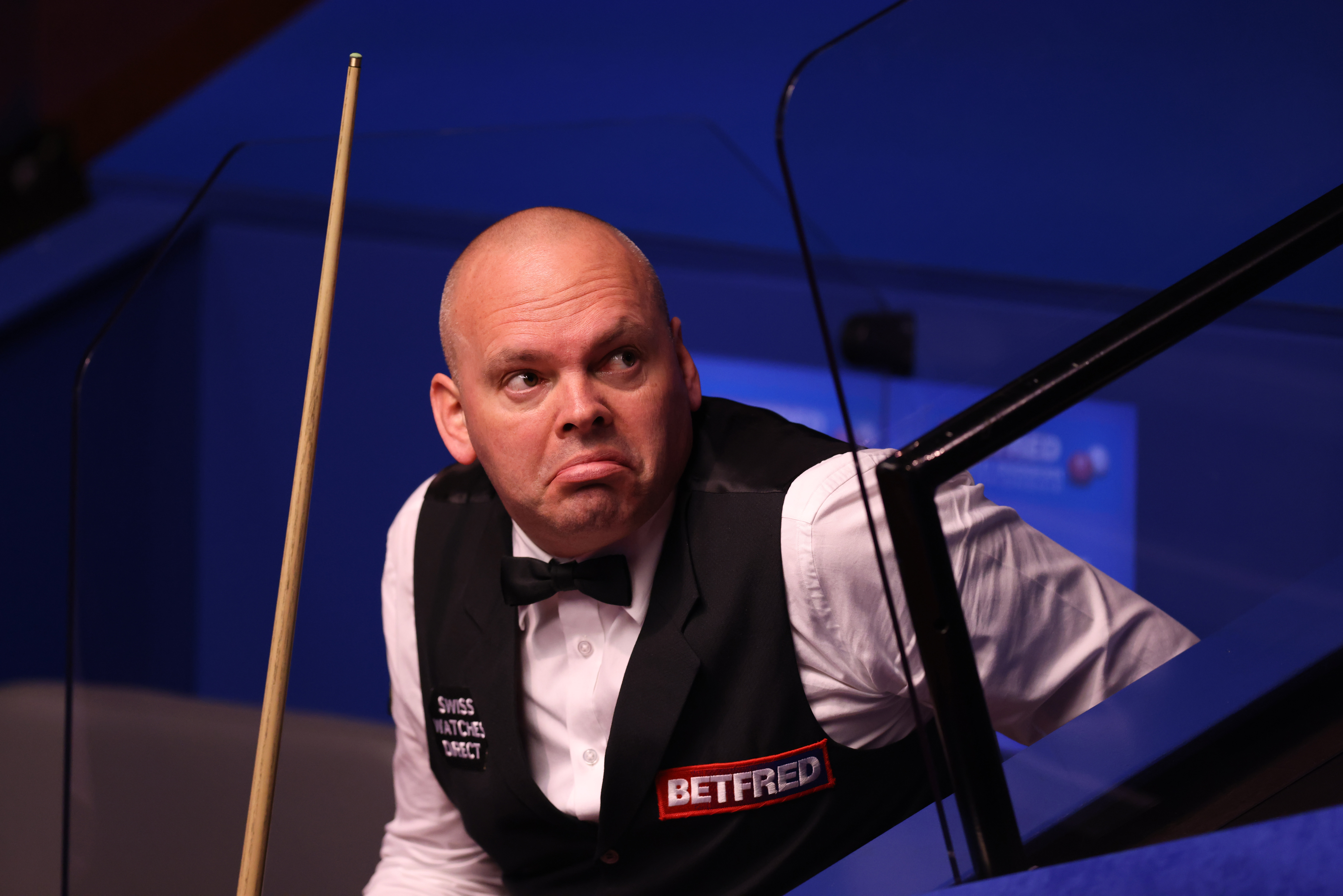 <p>Stuart Bingham during his match against Ding Junhui on day three of the Betfred World Snooker Championships 2021 at The Crucible, Sheffield. Picture date: Monday April 19, 2021.</p>