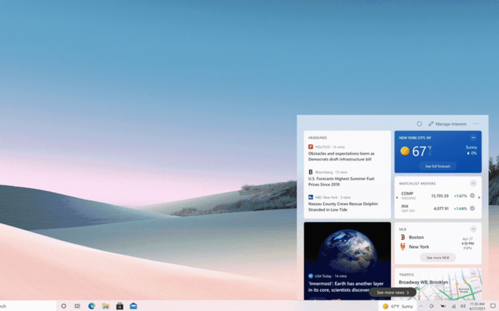 Weather and news are coming to the Windows 10 taskbar – Engadget
