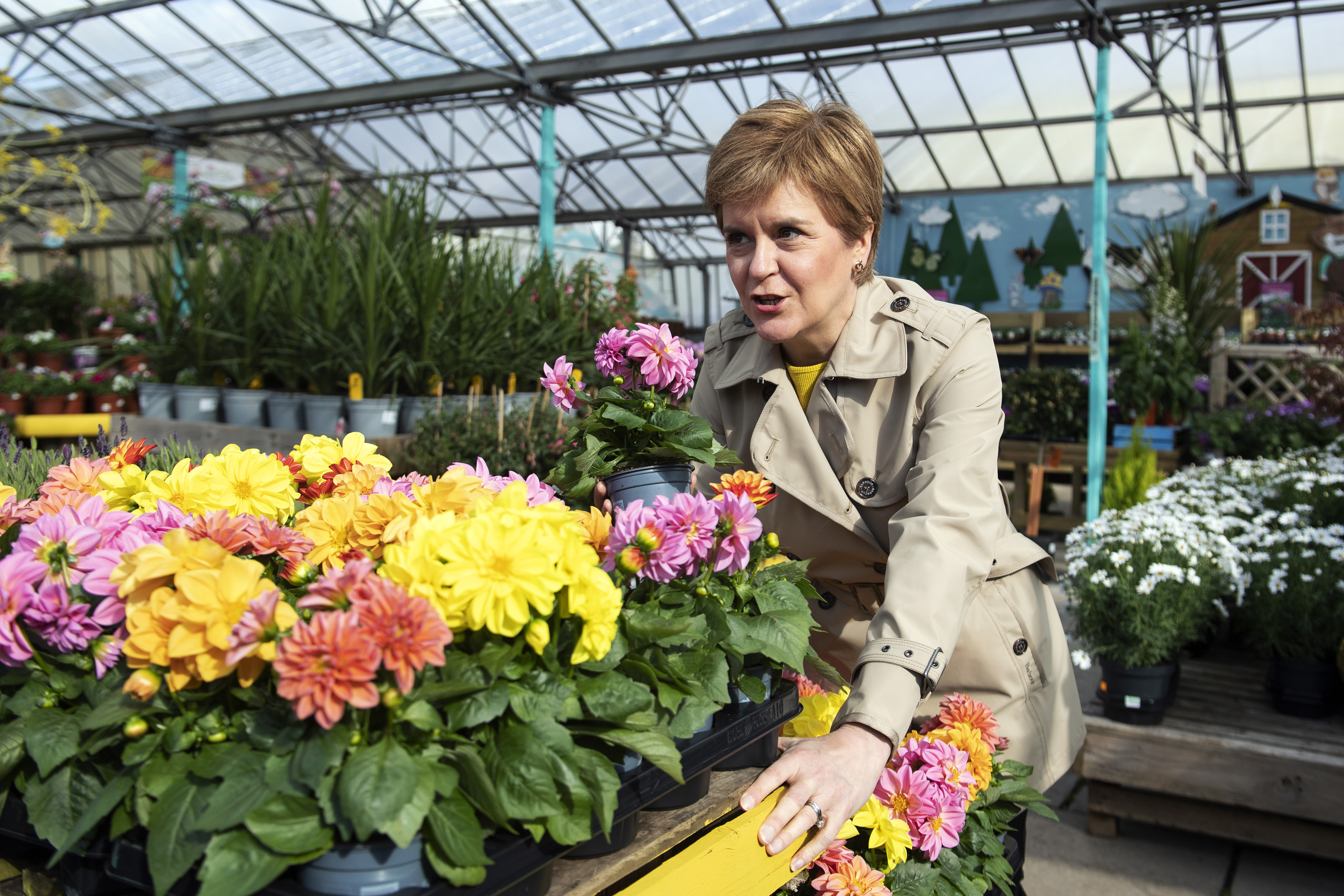 <p>Scotland's First Minister and leader of the Scottish National Party (SNP), Nicola Sturgeon visits Rouken Glen Garden Centre in Giffnock, while campaigning for the Scottish Parliamentary election. Picture date: Wednesday April 28, 2021.</p>