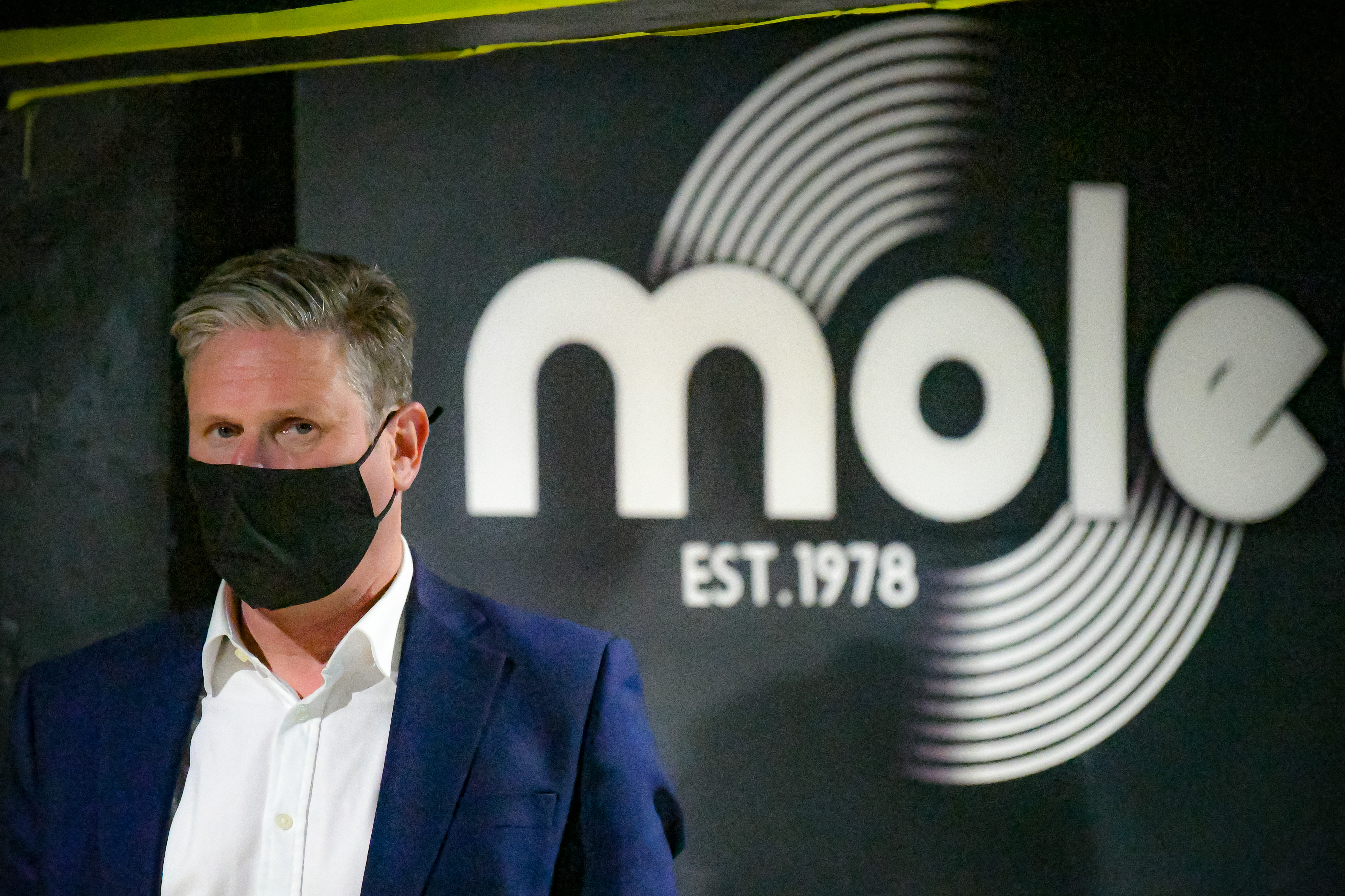 <p>Labour leader Sir Keir Starmer, on stage at Moles bar during a visit to Bath, to support West of England metro mayoral candidate Dan Norris and mark Labour's launch of an independent Commission to rebuild Britain's high streets. Picture date: Monday April 19, 2021.</p>