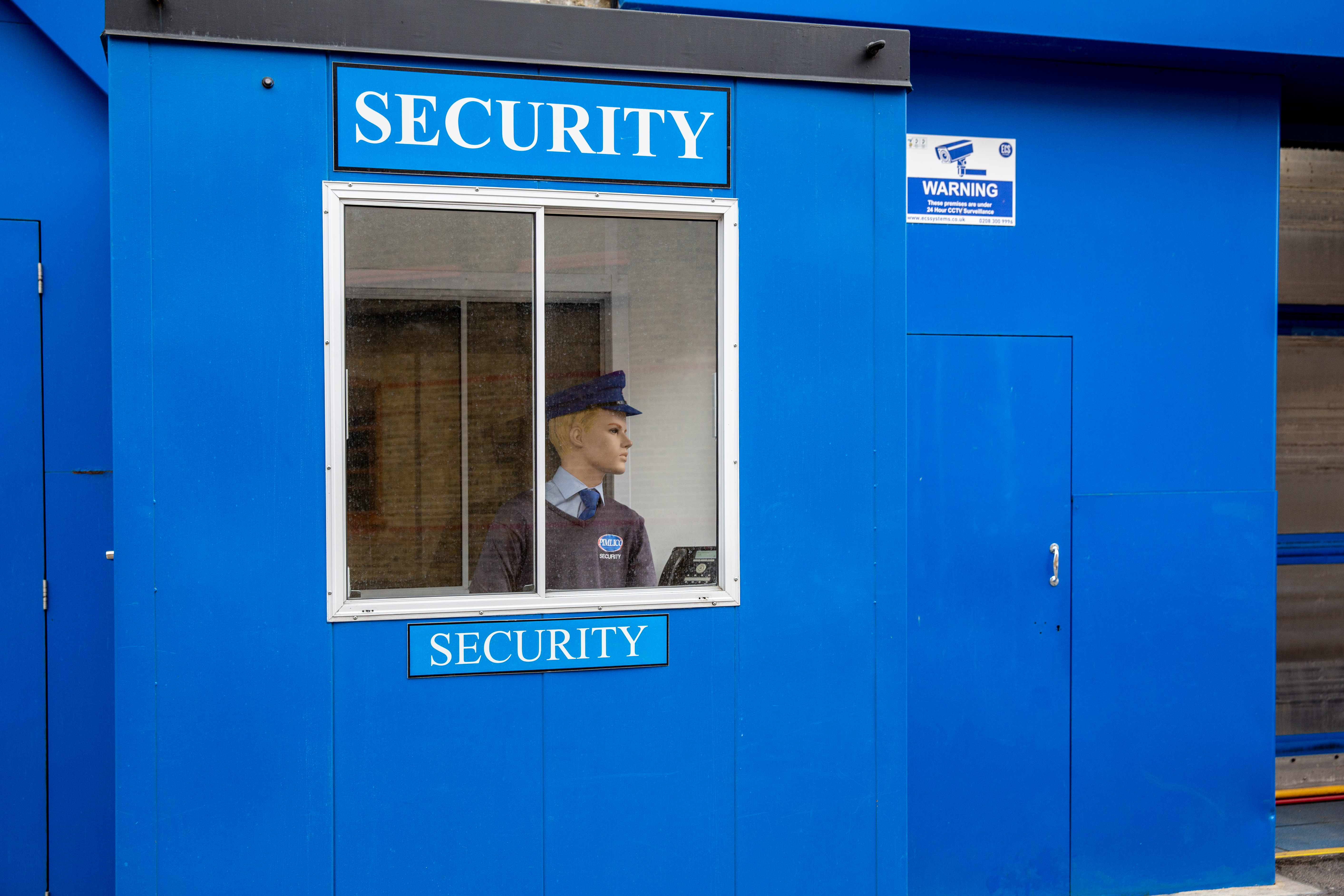 <p>A mannequin security man watches a commercial�premises�in central London on April 29, 2021. (Photo by Dominika Zarzycka/Sipa USA)</p>