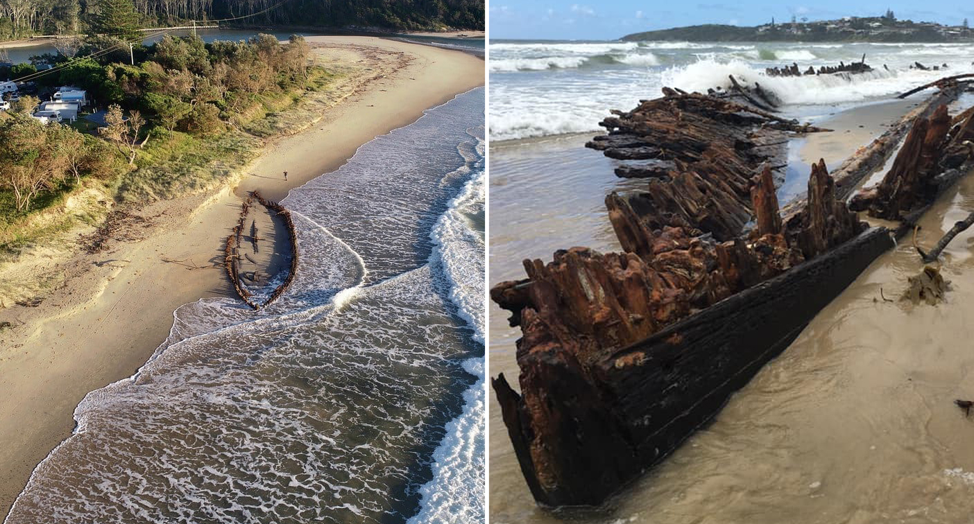 Shipwreck fully re-emerges off coast for first time in 128 years